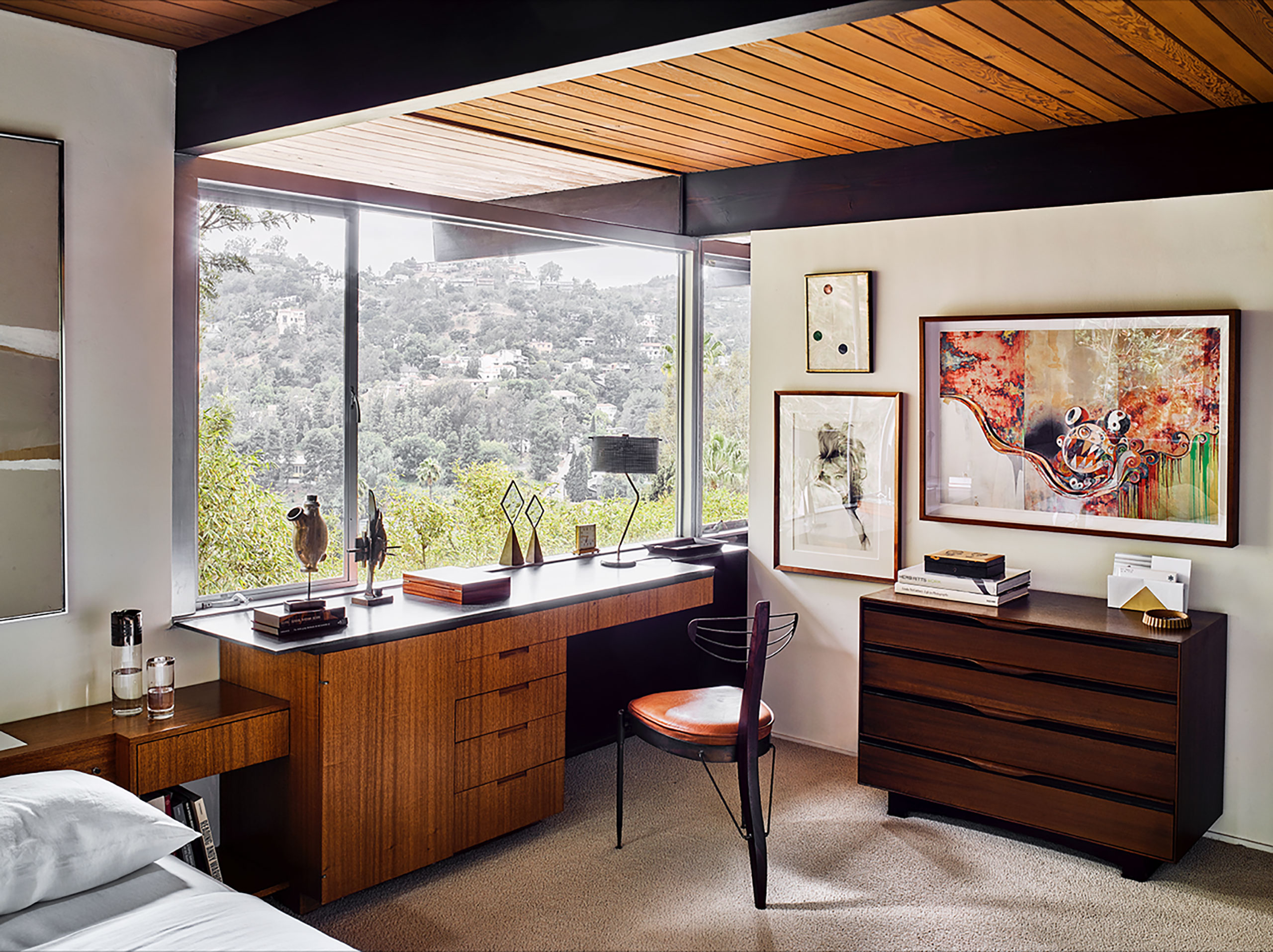 Photography by Douglas Friedman. Featured: Desk by Richard Neutra; three-legged chair by Pedro Useche.