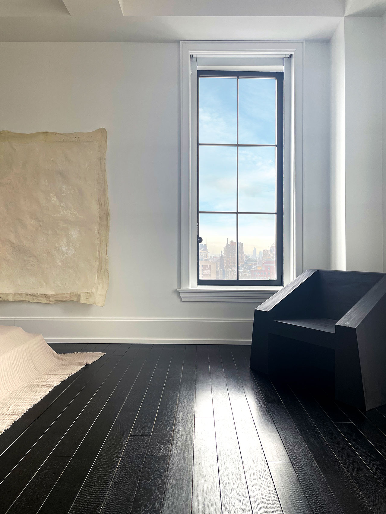 Galerie Philia at Walker Tower, Chelsea, New York. Courtesy of Galerie Philia. Featured: Lucas Morten, Kub Chair, 2020. Handwaxed Plywood. 95 x 65 x 75.5 cm.