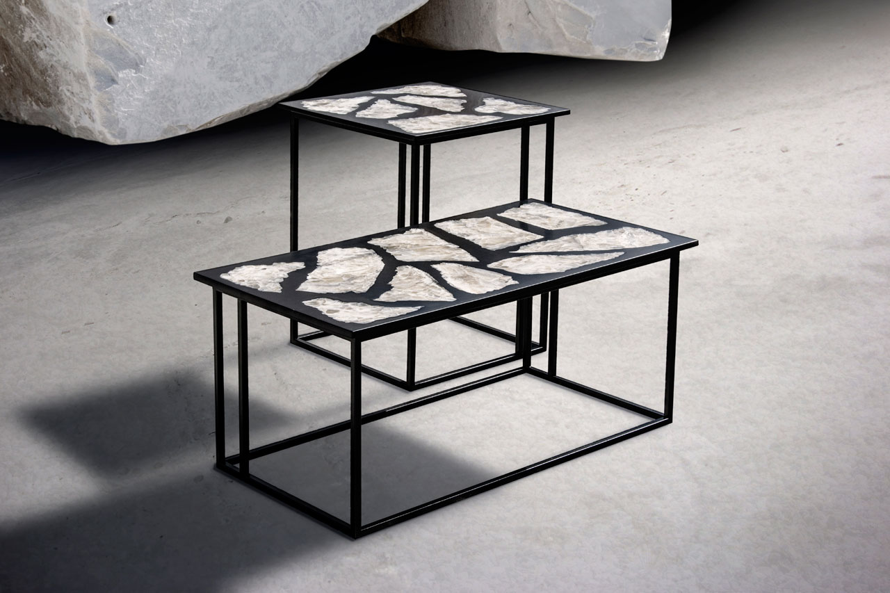 Side tables from the Dark Ages series by Davide G. Aquini with their top made of large lapis specularis flakes, immersed in a black resinous material.Photo by Luca, © ADG design.