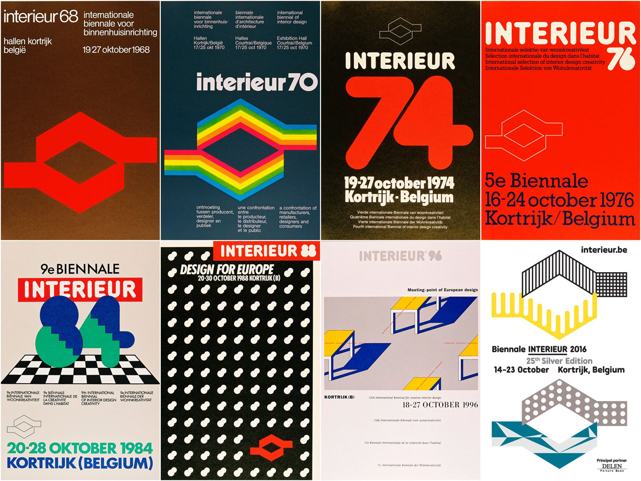 A selection of INTERIEUR posters from 1968 till the present were on display at the exhibition on the occasion ofthe 25th anniversary ofBIENNALE INTERIEUR at the Voka Headquarters in Kortrijk.