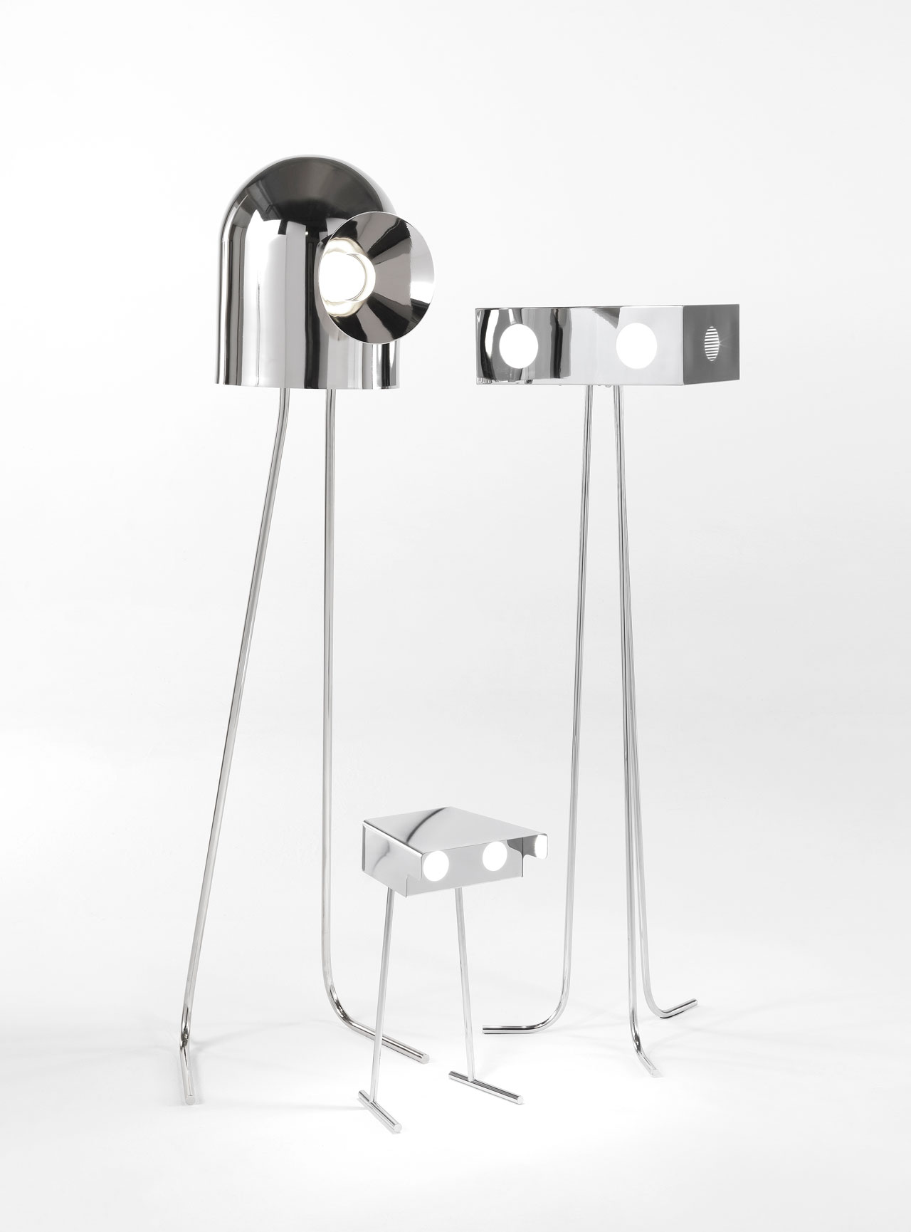 RONE & BETOO floor lamps by Richard Hutten for JCP Universe.Materials: metal structure in chrome finish and white perspex.Dimensions (H x W x D): 160cm x 40cm x 40cm & 50cm x 26cm x 24cm.Photo by Silvio Macchi © JCP Universe