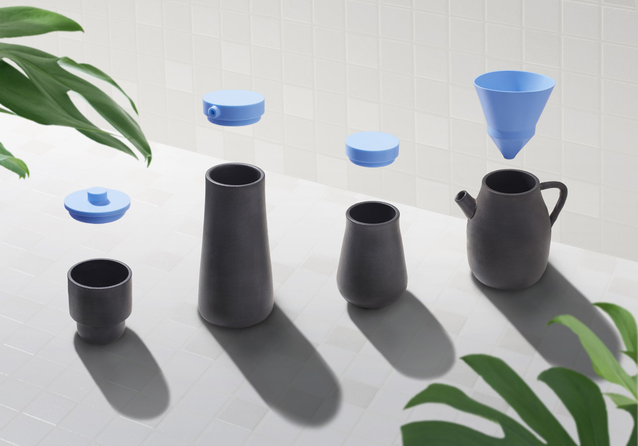 4x4 Vessels by BENWU STUDIO, a collection of 4 ceramic vessels combined with 4 different kind of silicone Lids. Beijing Design Week at DXBDW.