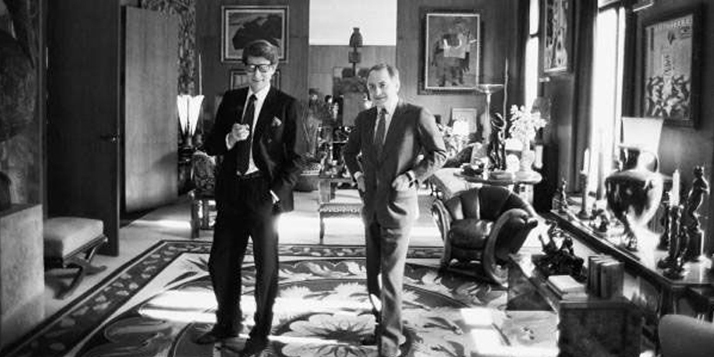 Yves Saint Laurent and Pierre Bergé with 'the Dragon chair'.