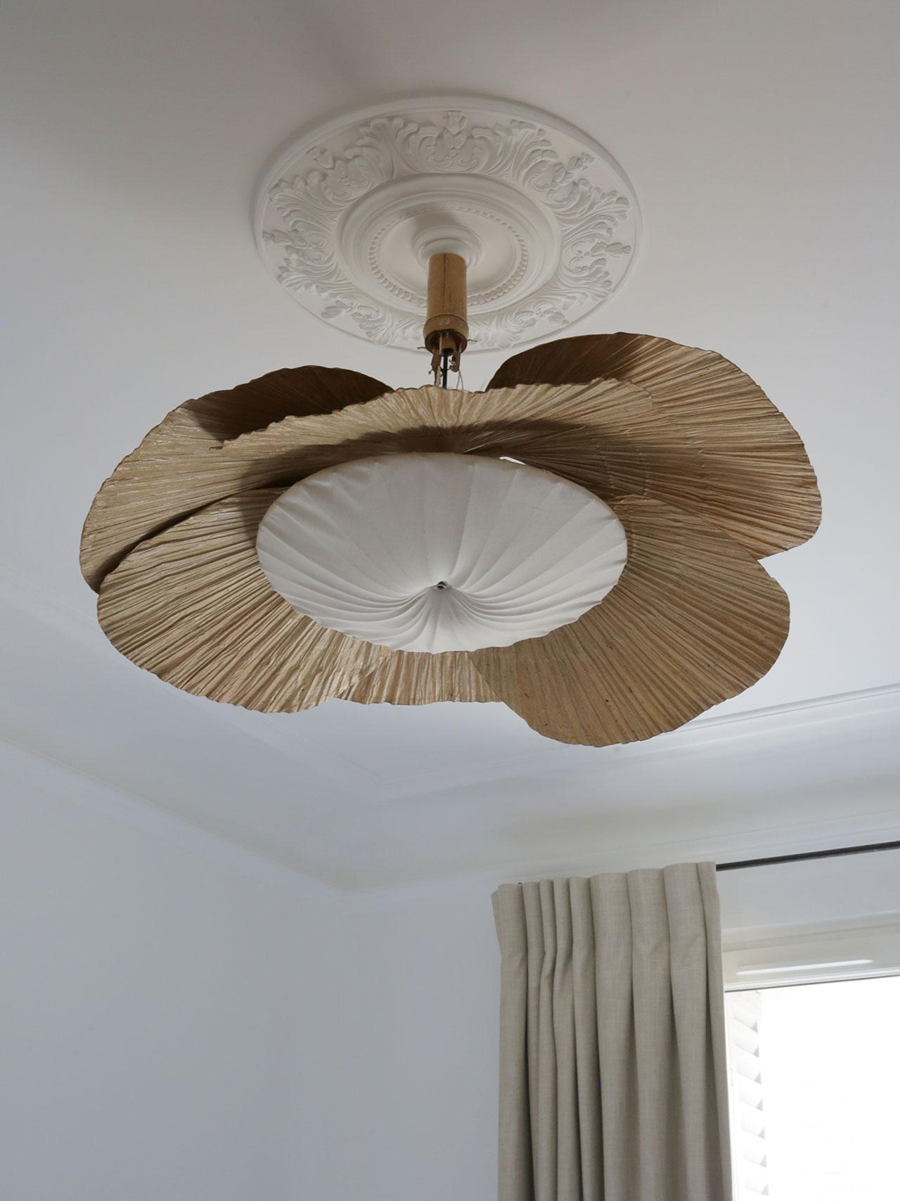 Uchiwa ceiling lightin rattan andrice paper by Ingo Maurer, 1970. Photography by Damien de Medeiros.