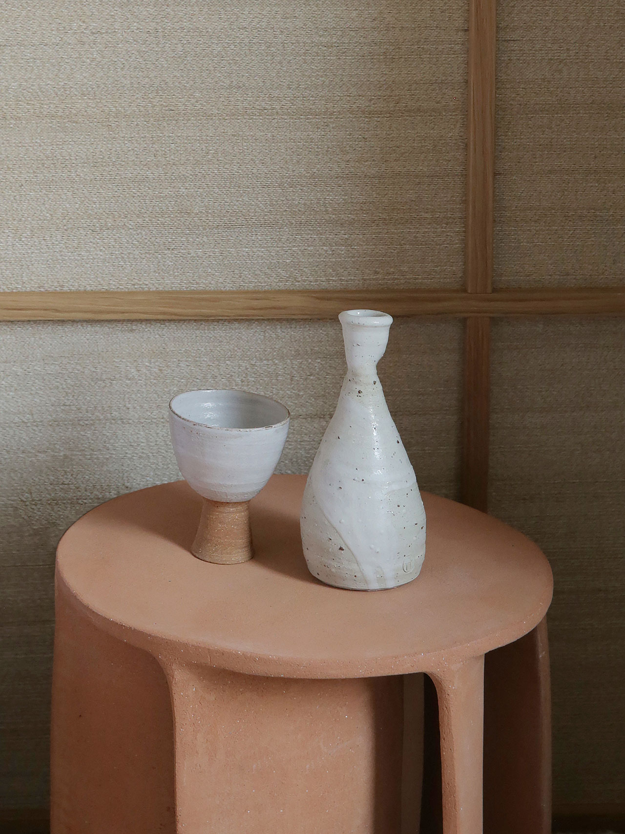Illuminated side table in in earthware by Guy Bareff. Ceramics byMarie Lautrou. Photography by Damien de Medeiros.