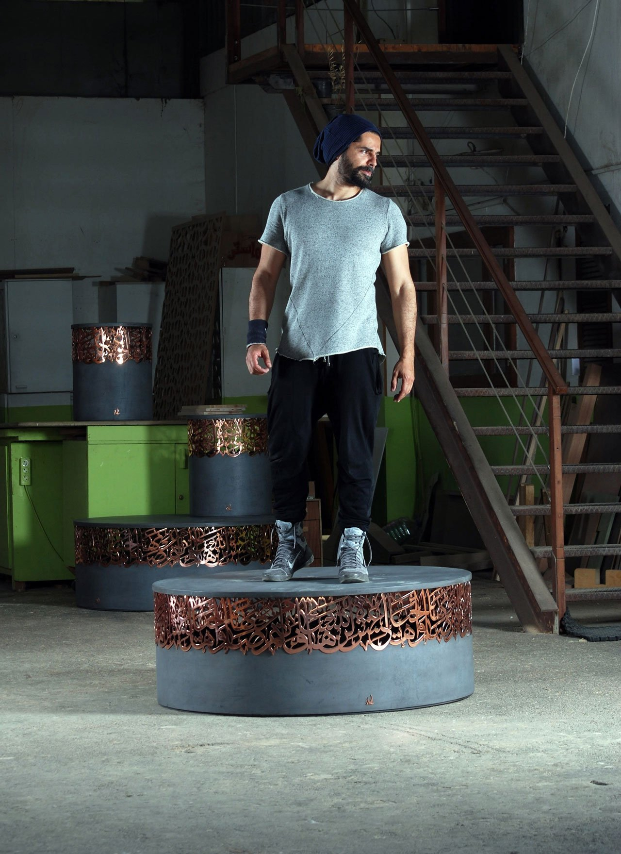 Beirut-based Iyad Naja explored the reinvention of the table/stool ato'de roseboutique in Dubai.