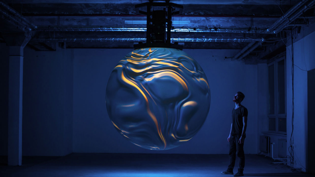 Anima III, 2020. Conceived and designed by Nick Verstand in collaboration with Salvador Breed (sound composition), onformative (software & design) and Pufferfish (spherical projection). Photography by Noortje Knulst.