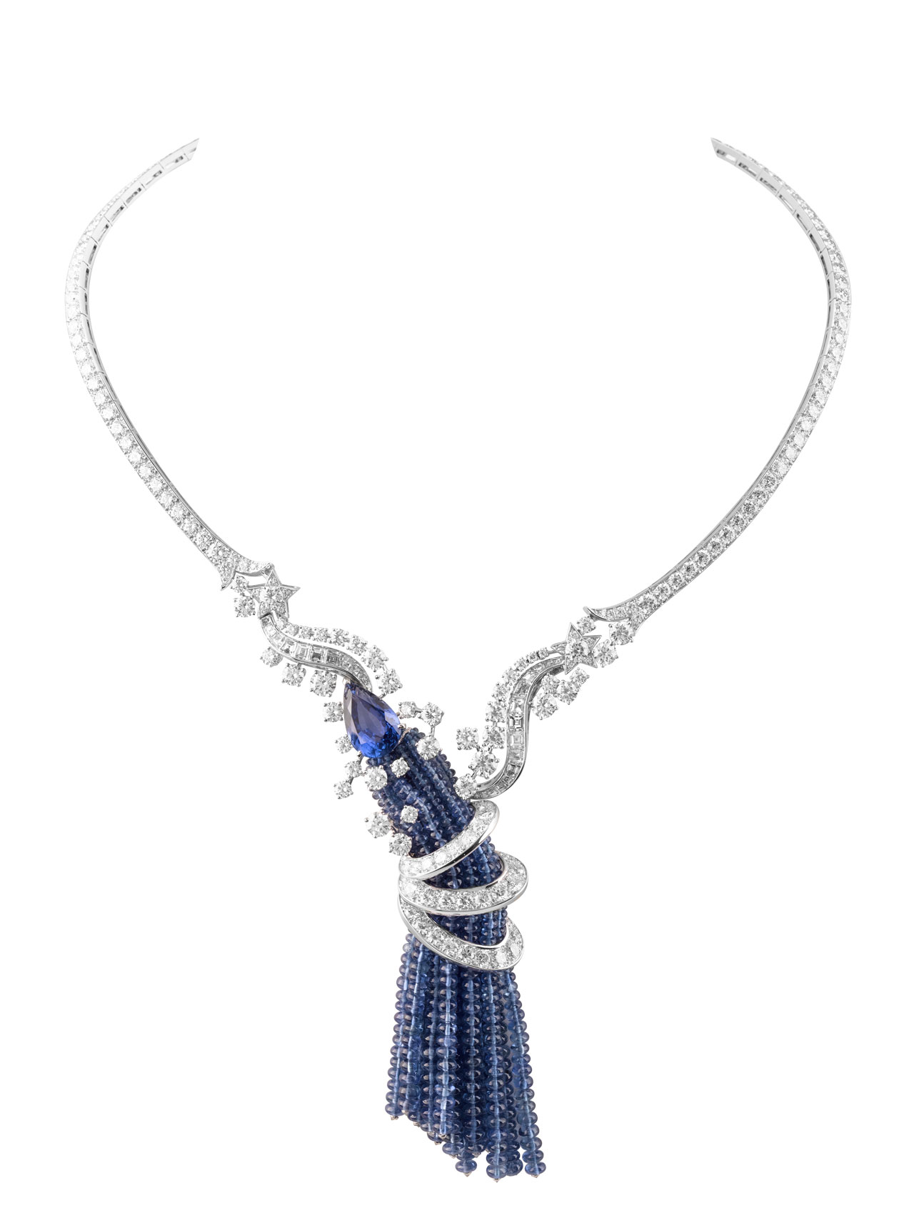 Serenitatis necklace, 2010. Gold, sapphires, diamonds. Photo © Van Cleef & Arpels. Van Cleef & Arpels Van Cleef & Arpels High Jewelry and Japanese Crafts in Kyoto's Museum 33 mastery of an art van cleef arpels kyoto japan yatzer