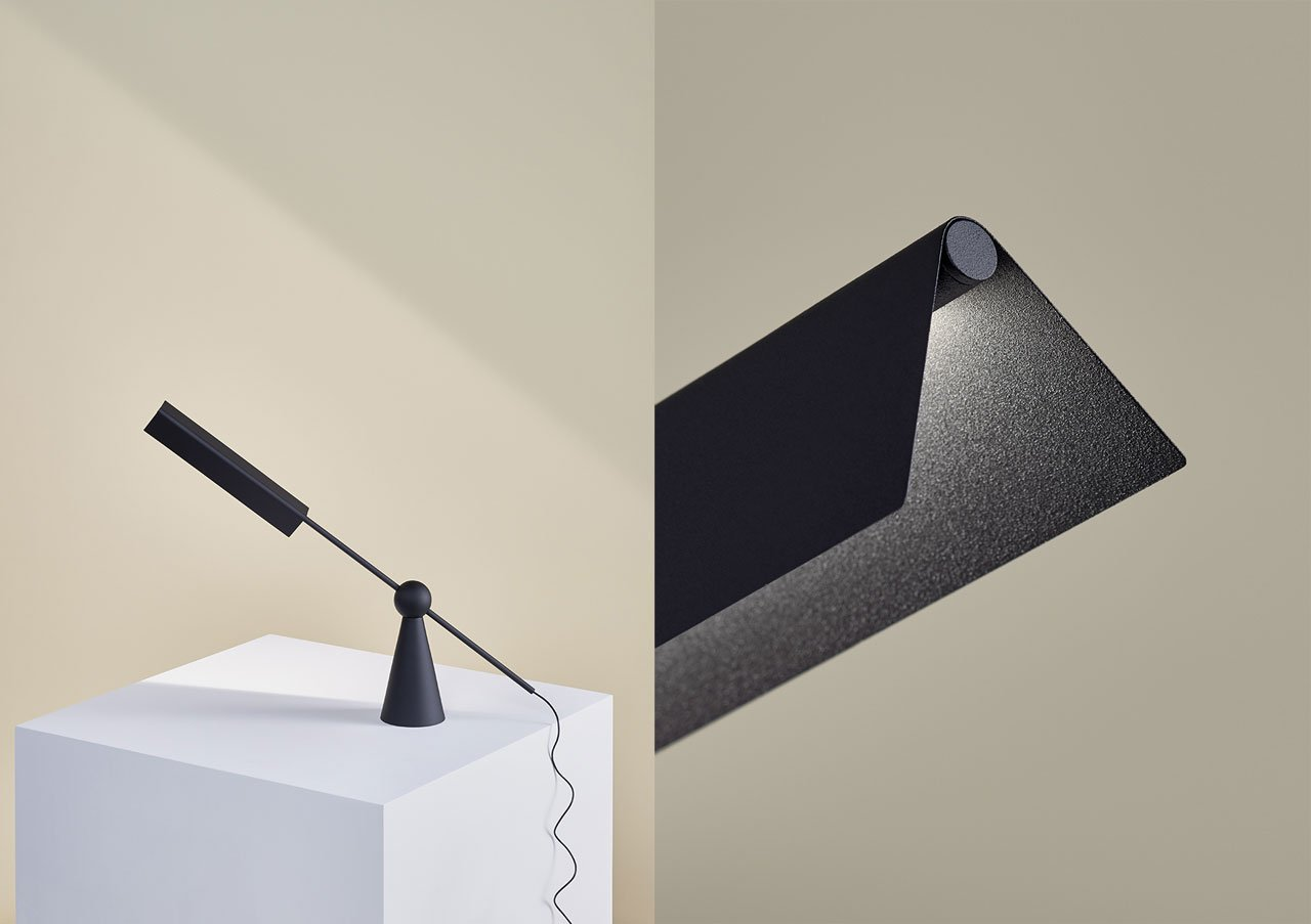 """Mill table lamp byEarnest Studioinspired by the dexterity of the basic sphere, """"Mill"""" is a movable table lamp that maintains its position using balance. Concept: Rachel Griffin 