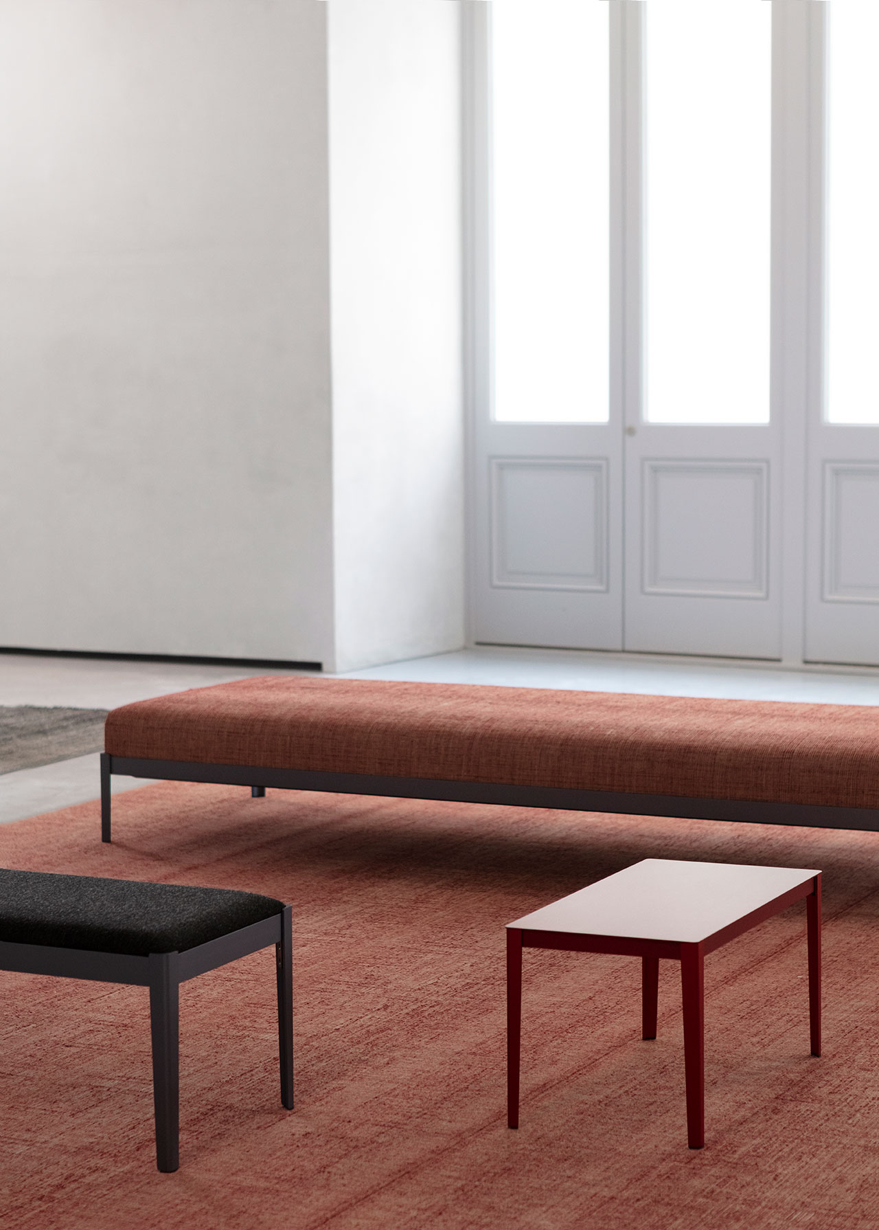 Ronan et Erwan Bouroullec, Interior furnishings for the Salon, carpets and benches, 2020. © Studio Bouroullec. © Tadao Ando Architect & Associates, NeM / Niney et MarcaCourtesy Bourse de Commerce - Pinault Collection