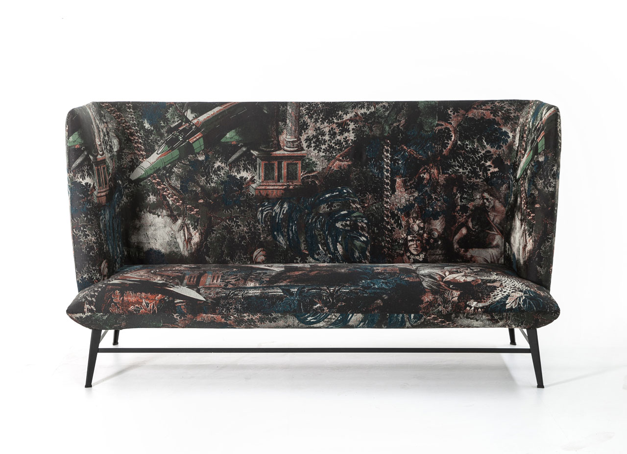 Gimme Shelter seating system covered with the newNaturalOrgy tapestryby Moroso for Dieselliving.