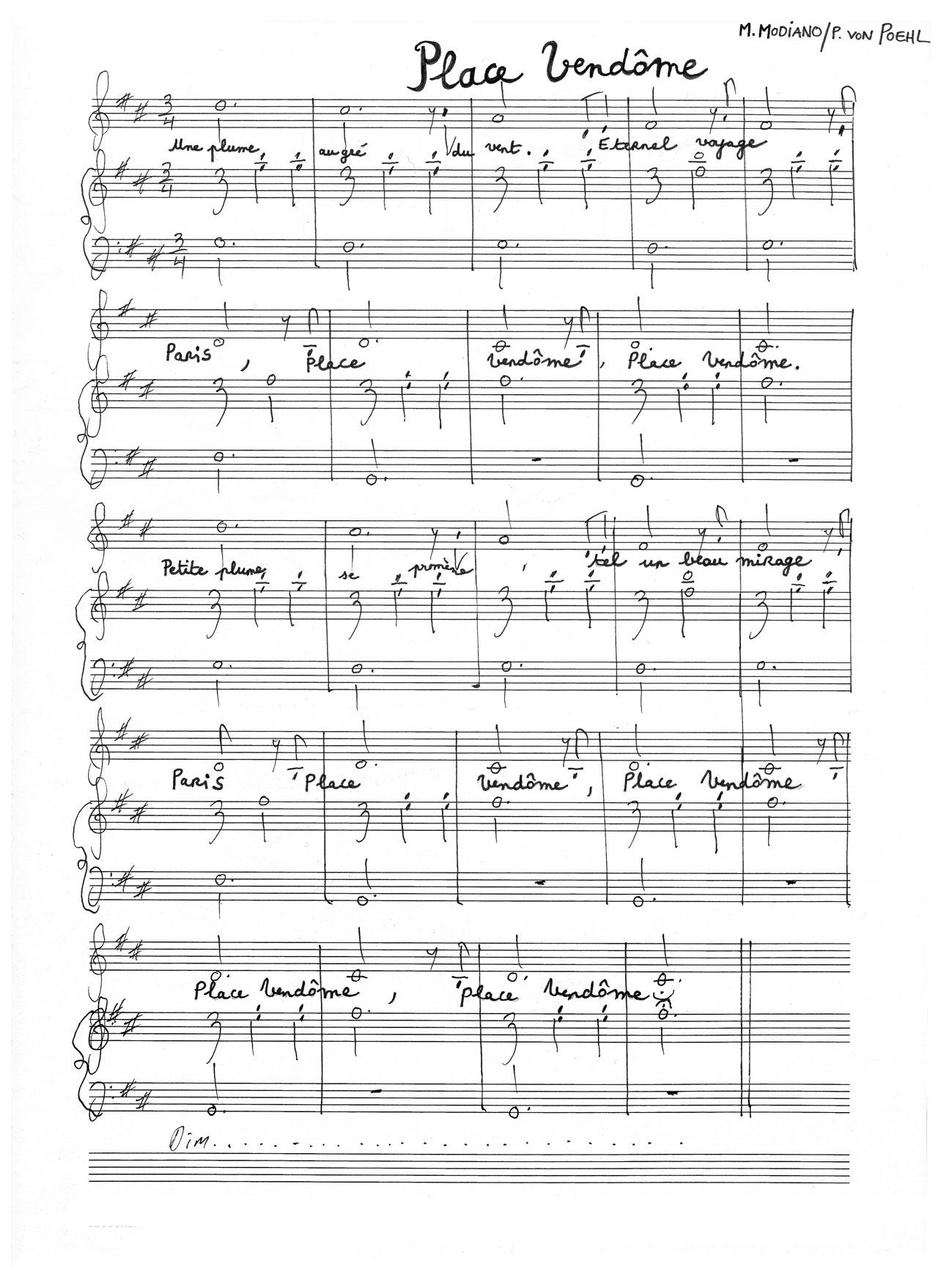 Original score. Marie Modiano / Peter von Poehl.
