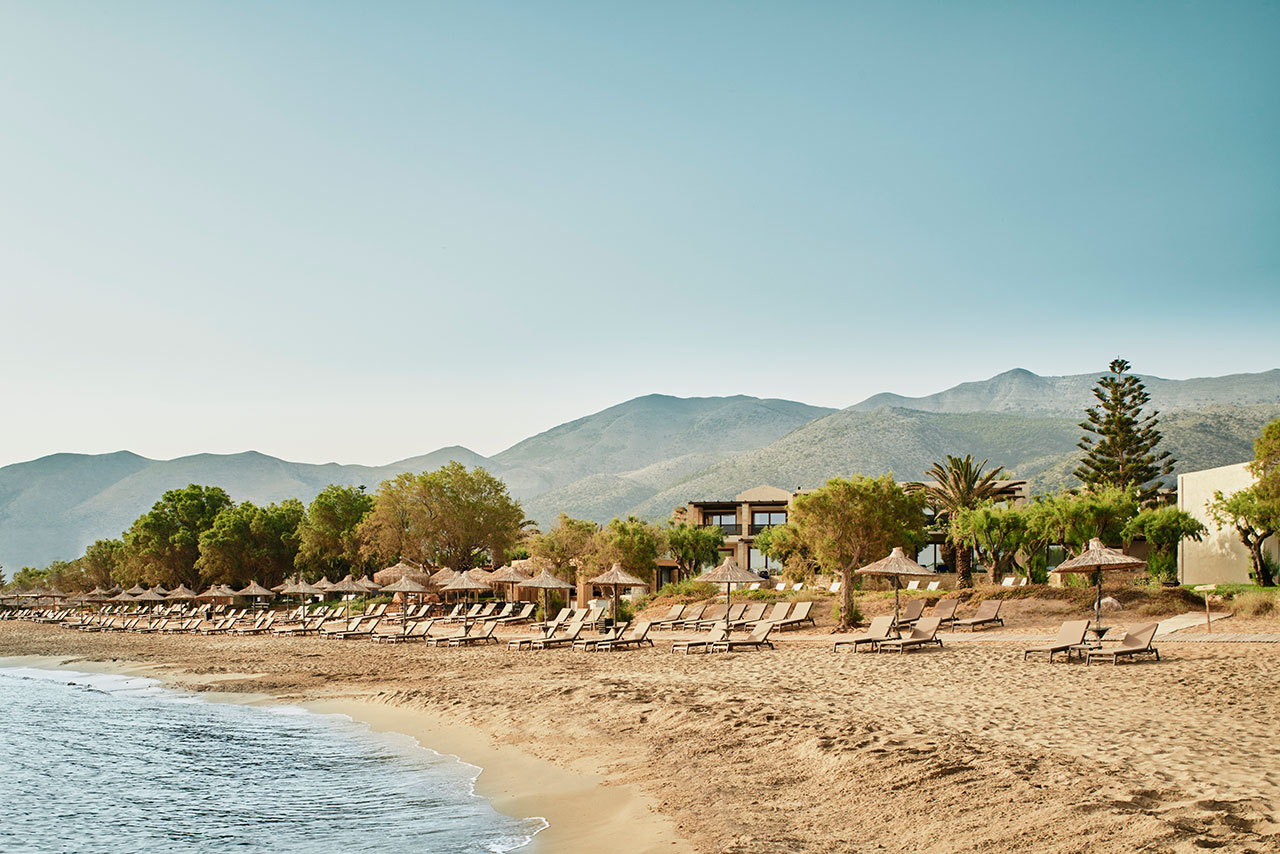 The Hotel's idyllic beachfront location is a big draw. © Cretan Malia Park Resort a member of Design Hotels™ | Malia, Crete, Greece.Photo by Claus Brechenmacher & Reiner Baumann. Courtesy of Cretan Malia Park.