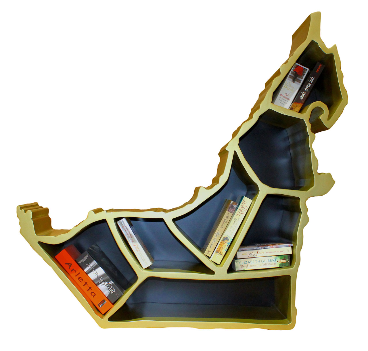 Emiraty Shelf by IBDAA.MDF Wood coated with black and gold paint.