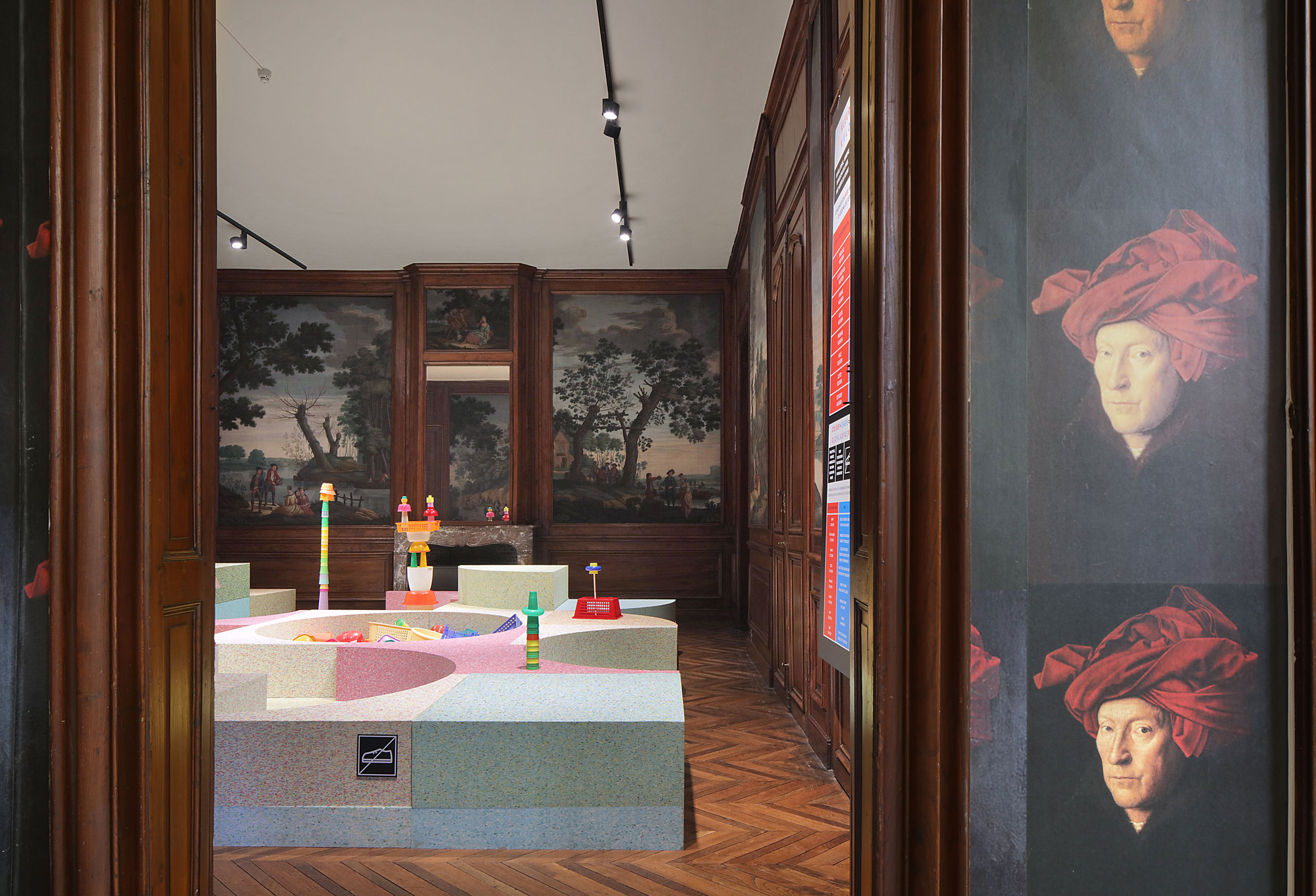 "Exhibition view. ""Kleureyck. Van Eyck's Colours in Design"" at Design Museum Ghent. Featured (foregound): Studio RENS, Changing Perception / ONLINE, 2020. Featured (interior of room): Joanna Reuse, C S D H L A O P U E R , 2020. Photo by Filip Dujardin."