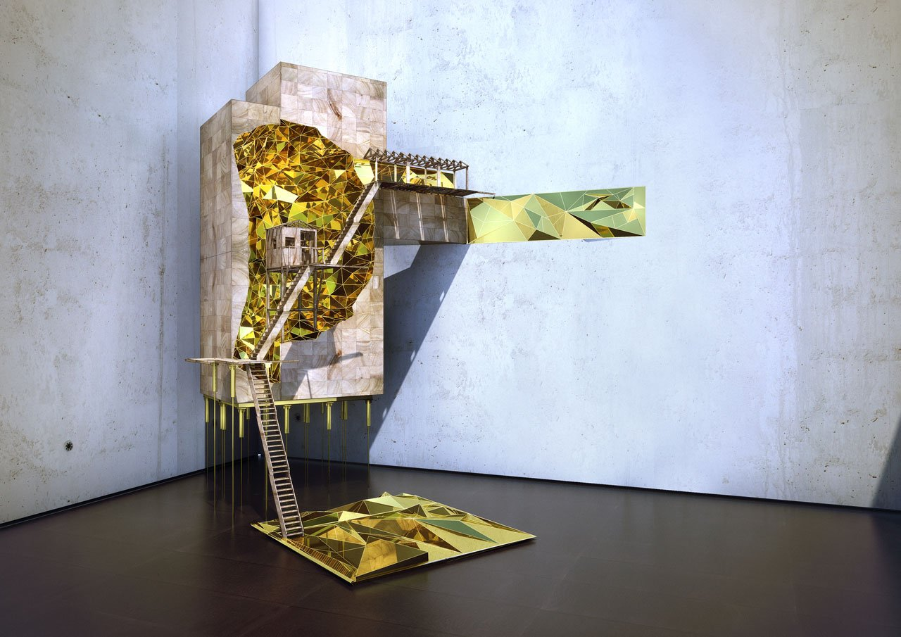 Vigilism, »Where there's gold: mining way station«, 2014, three dimensional model, © Olalekan Jeyifous, Vigilism, New York.