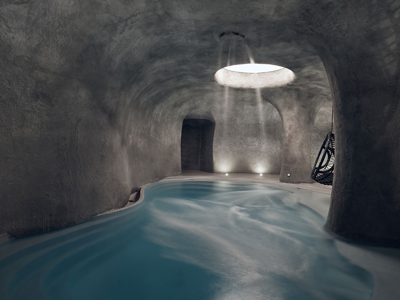 Contessina's luxury spa includes an immersive, cave-like indoor pool. © Contessina Suites & Spa | Zakynthos, Greece.