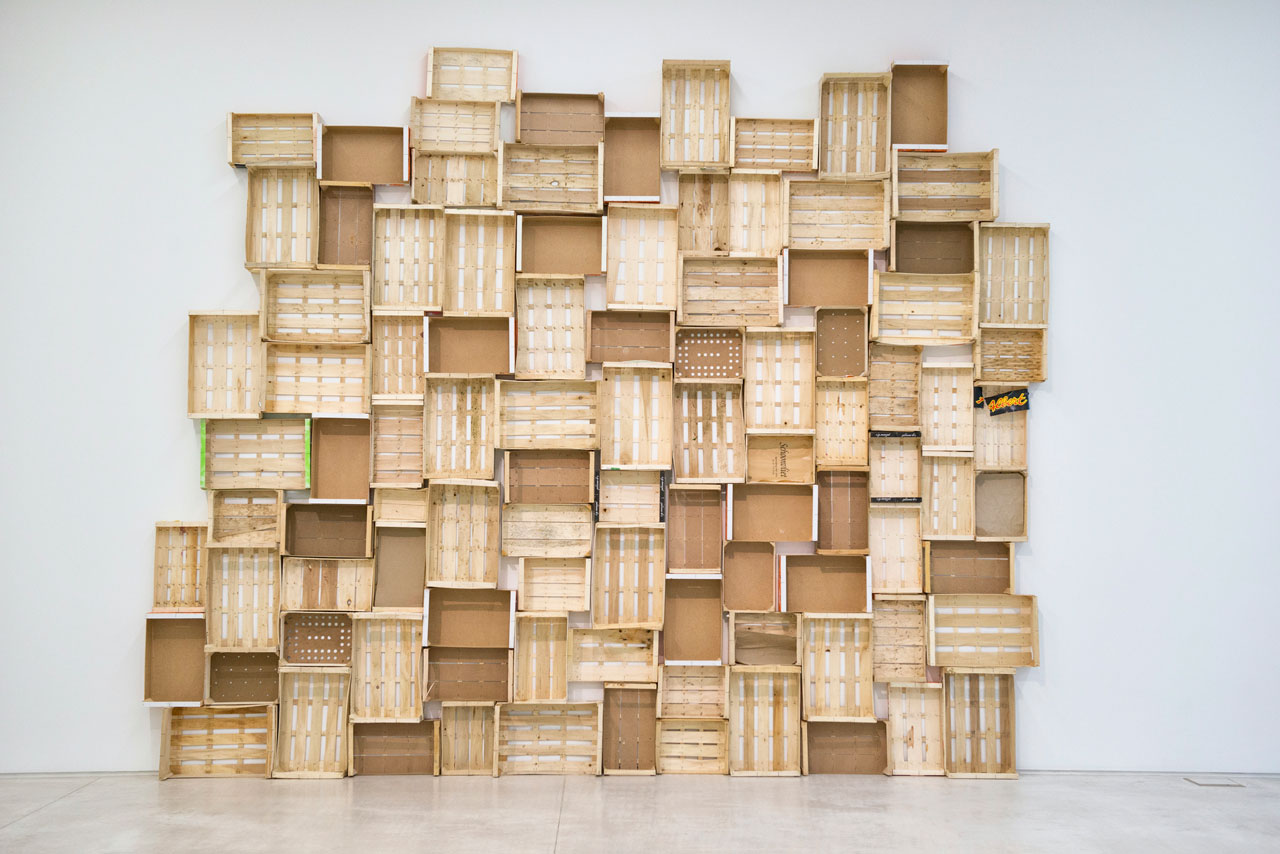 """Installation view of the work Wooden Vegetable Crates, 1962-2012 by Jan Henderikse from the exhibition """"Urgent conversations: Athens-Antwerp"""". Photo byHelena Paraskeva©National Museum of Contemporary Art, Athens (EMST)."""
