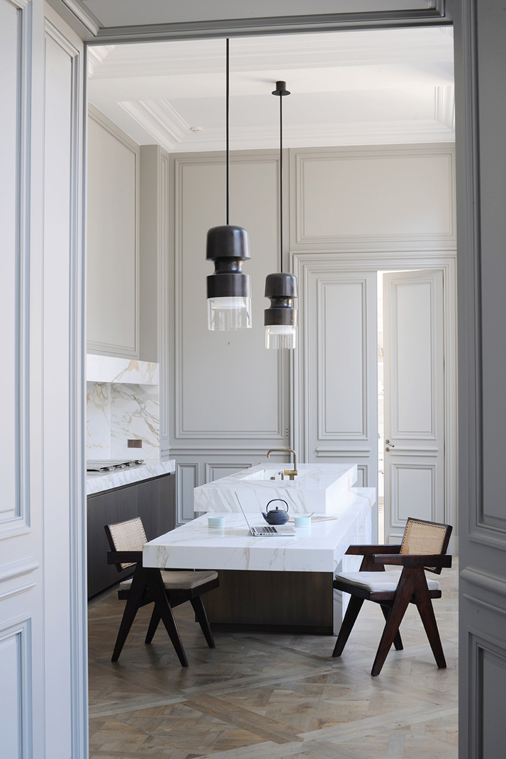 The kitchen of a private apartment by Joseph Dirand in Saint-Germain-des-Prés, Paris, France.Photo © Adrien Dirand / AD France n° 119, September/October 2013.
