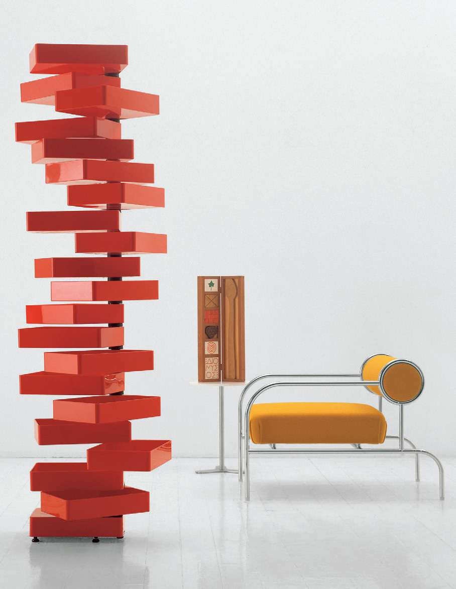 Revolving cabinet (1970) and Sofa with Arms (1982) by Shiro Kuramata for Cappellini. Photo © Cappellini.