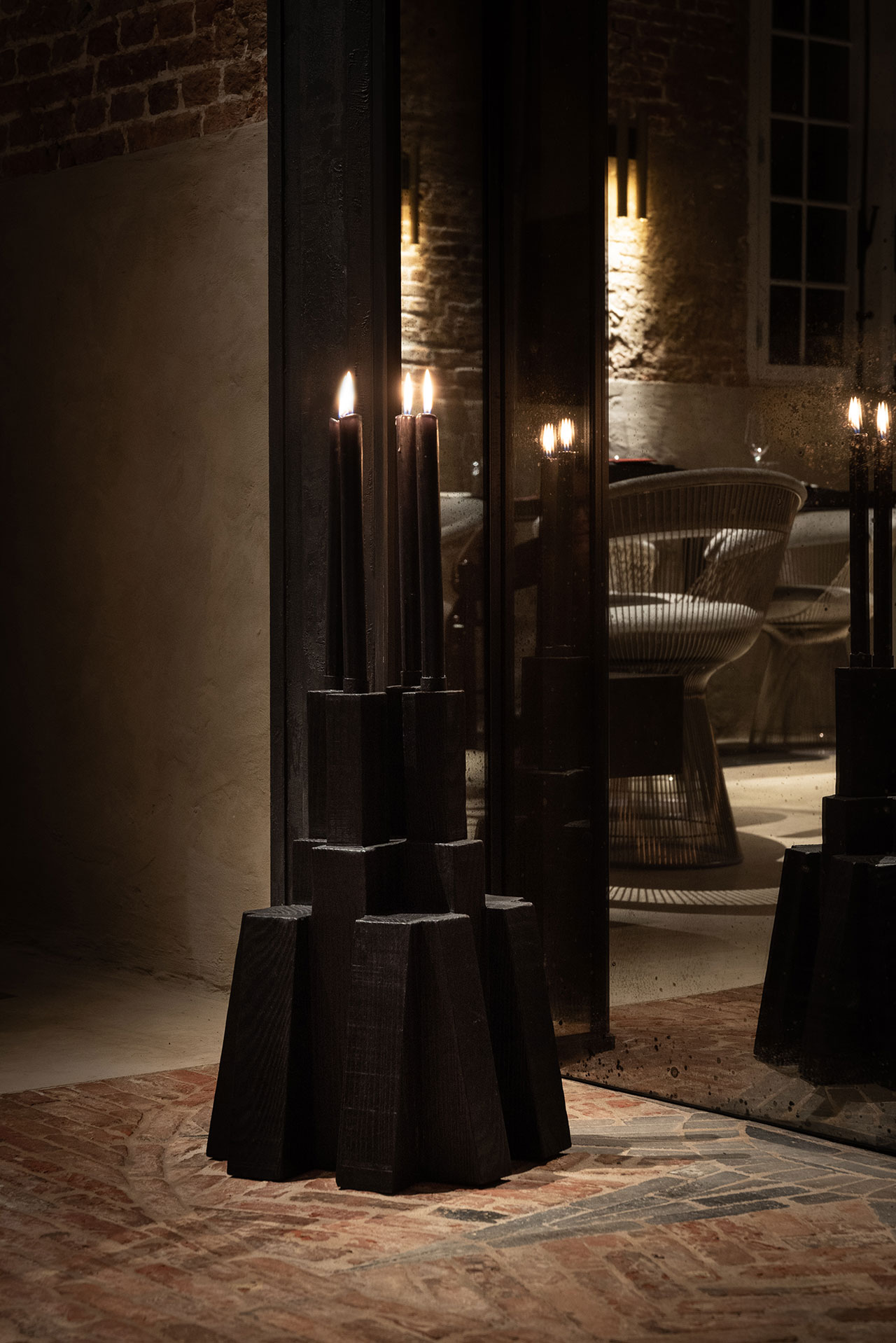 STABLE restaurant designed by Dieter Vander Velpen. Candle holder by Arno De Clerck. Photo by Patricia Goijens.