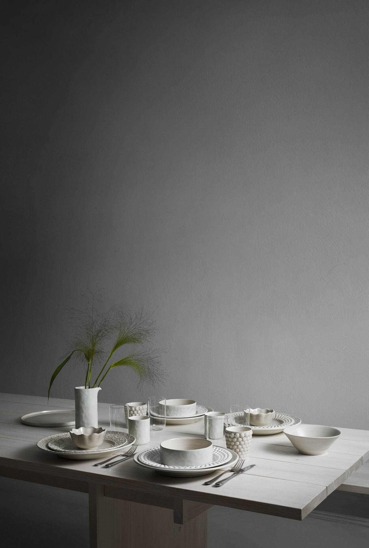 "The Lace, the Bubbles, the Basic and the Perfectly Irregular Mateus ceramic tableware collections combined together with the new ""Mateus meets Sam Baron meets Yatzer"" .Styling by Lotta Agaton.Photo by Fabian Björnstjerna."