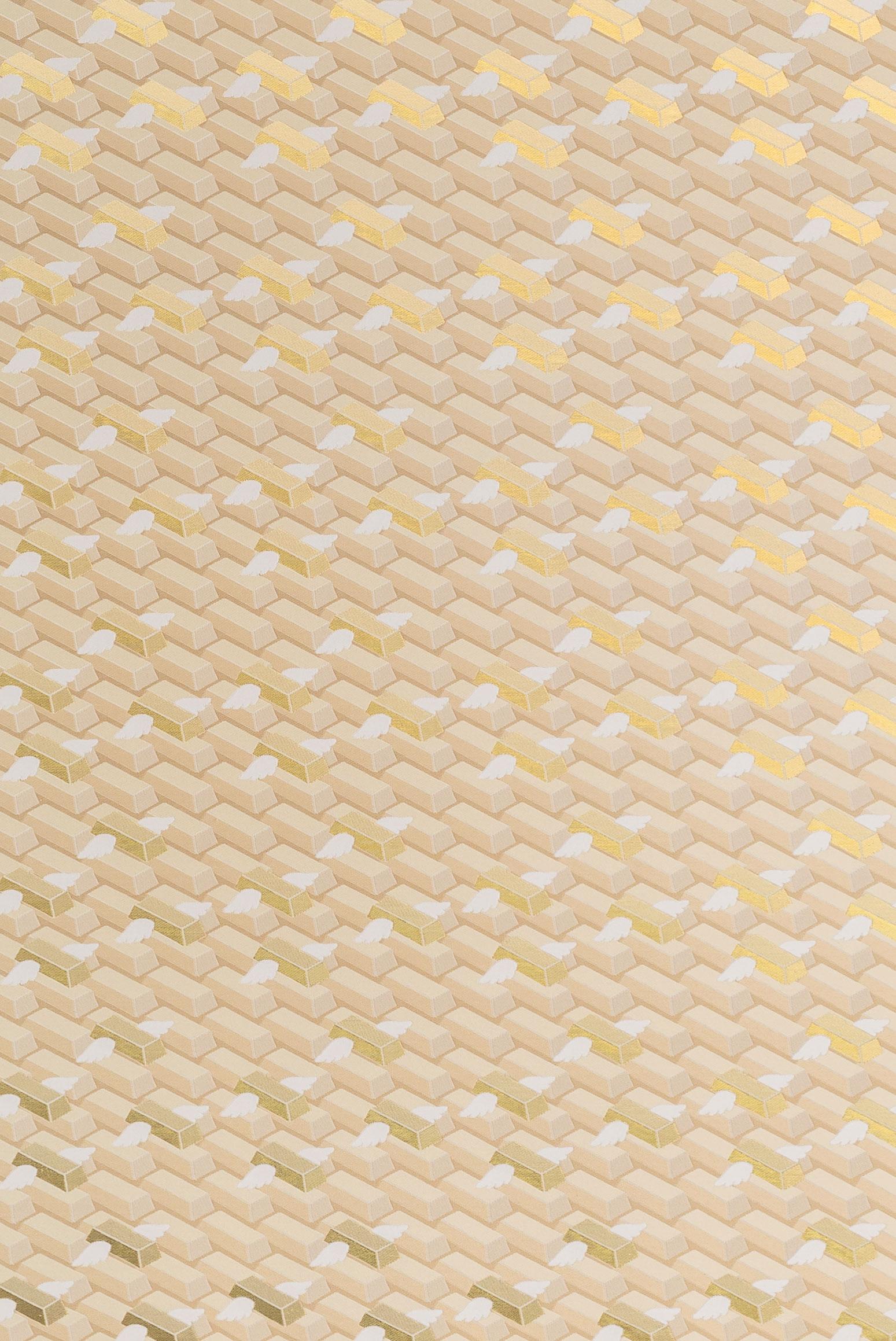 GOD project by Alberto Biagetti and Laura Baldassari curated by Maria Cristina Didero. Lingotti volanti #1: Silk jacquard wall-covering produced by Mantero.-↑↓ 13,5 ↔ 14,5 H.150 cm-↑↓ 5,3 ↔ 5,7 H.59 inches-Photo by Delfino Sisto Legnani, ©Atelier Biagetti.