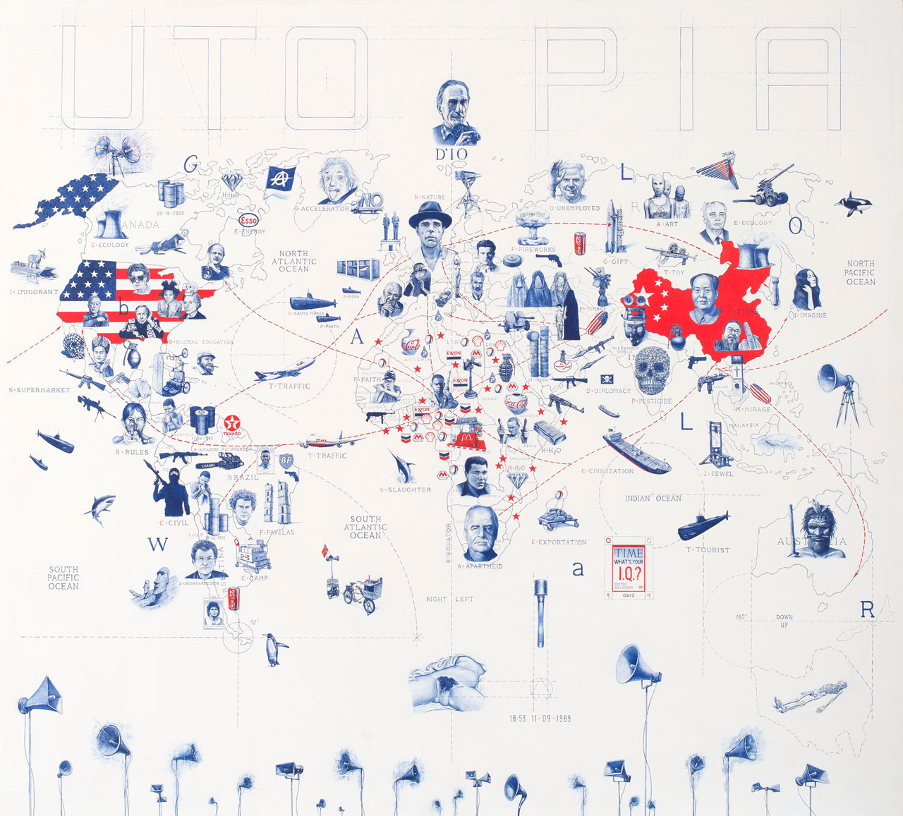 Giuseppe Stampone,Il Cielo è sempre più blu, 2013. Bic pen on prepared wooden board 200×220 cm©Giuseppe Stampone,MLF | Marie-Laure Fleisch Gallery.