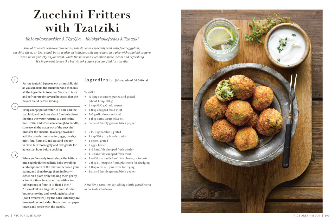Zucchini Fritters with Tzatziki by novelist Victoria Hislop from 'A Taste of Greece' - Recipes, Cuisine & Culture by HRH Princess Tatiana & Diana Farr Louis, published by teNeues. Photo © Antonios Mitsopoulos.