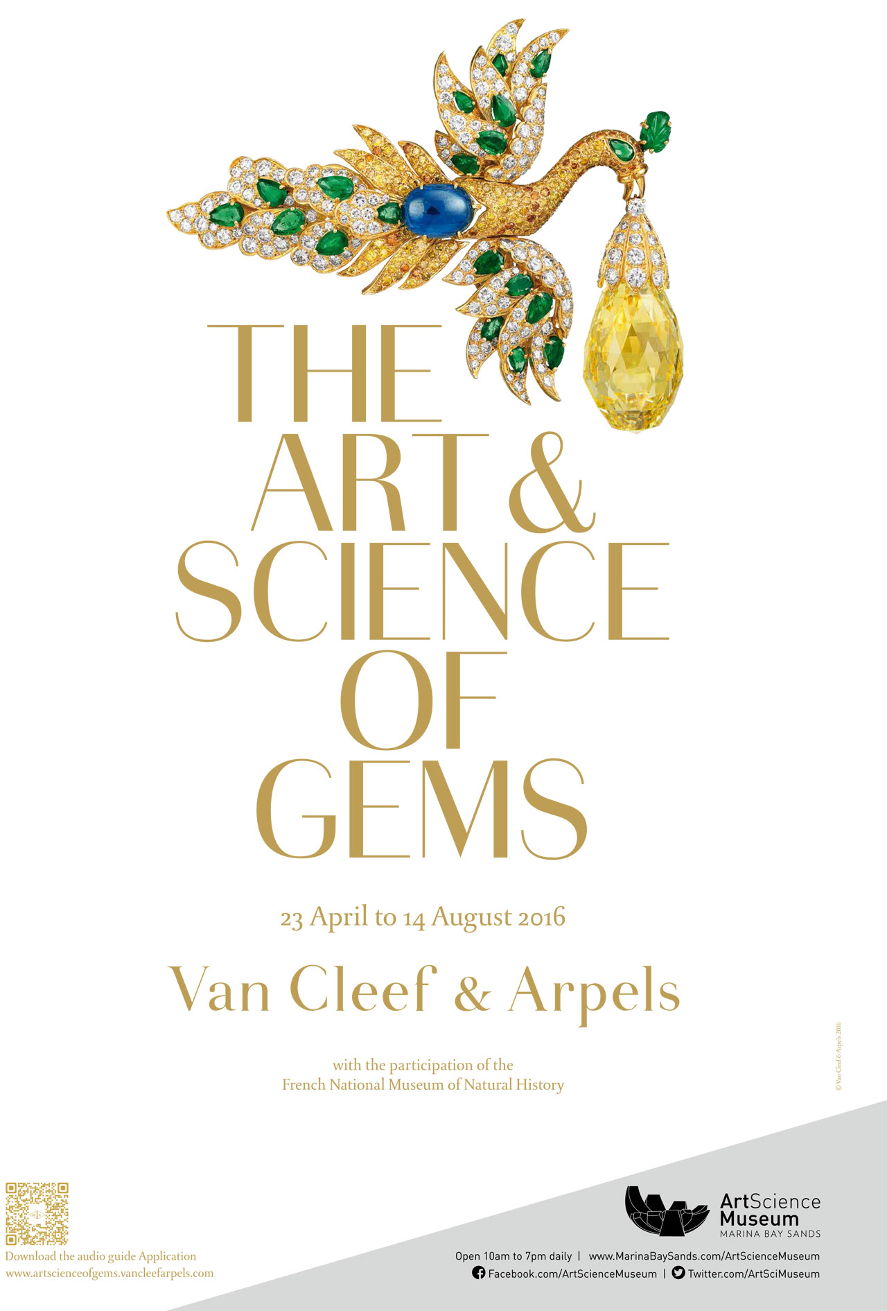 'The Art & Science of Gems' poster, featuring the Bird clip and pendant, (1971-1972). Gold, emeralds, sapphire, yellow and white diamonds and a 96.62-carat briolette-cut yellow diamond formerly owned by the famous Polish opera singer Ganna Walska. Van Cleef & Arpels Collection. Photo by Patrick Gries © Van Cleef & Arpels.