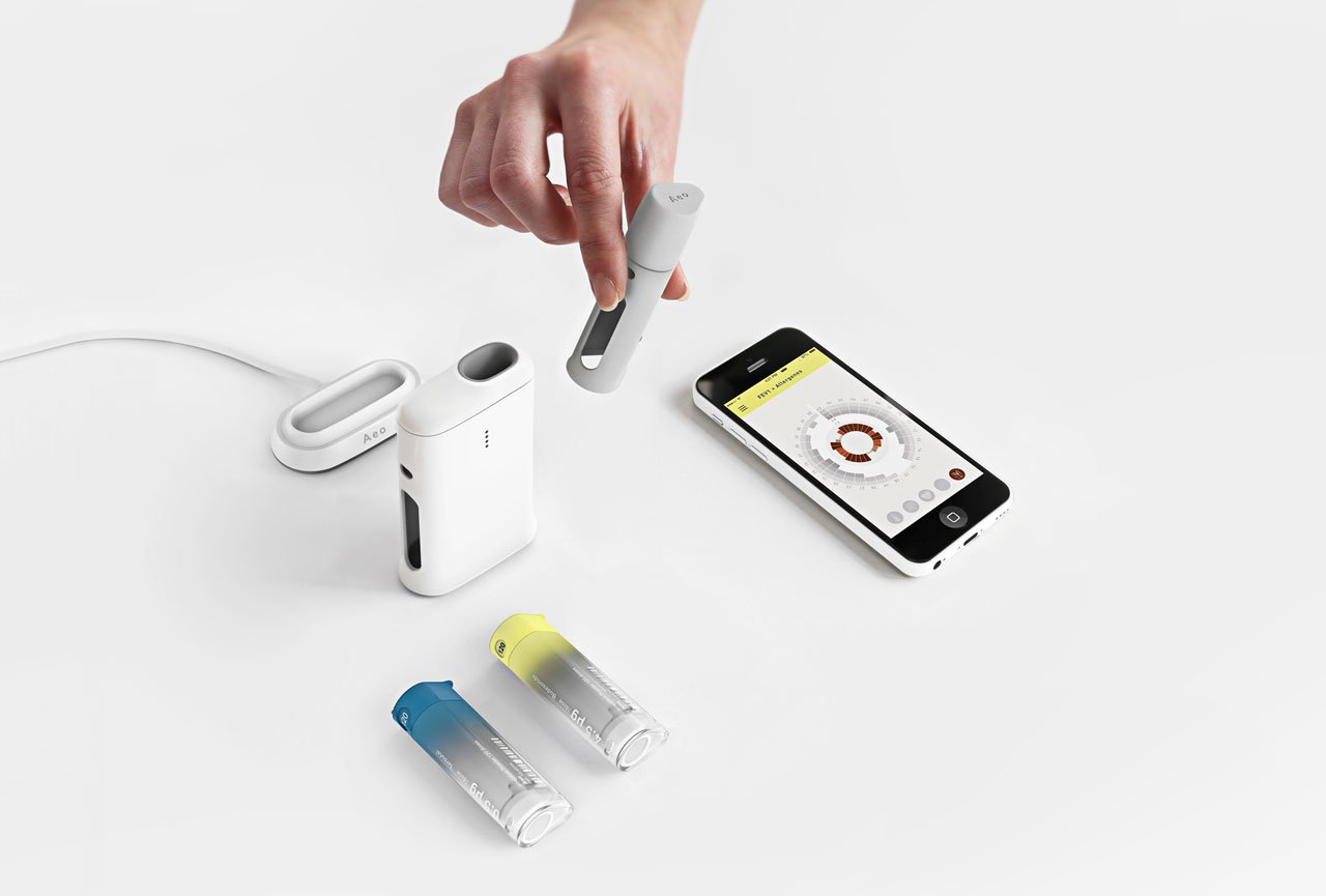 Aeo asthma medication kit focused on symptom awareness and conscious medication dosing. Part of the Global Grad Show 2016. Graduation Project by Anna-Maria SchneiderMFA Advanced Product DesignUmeå Institute of DesignNorrland University Hospital
