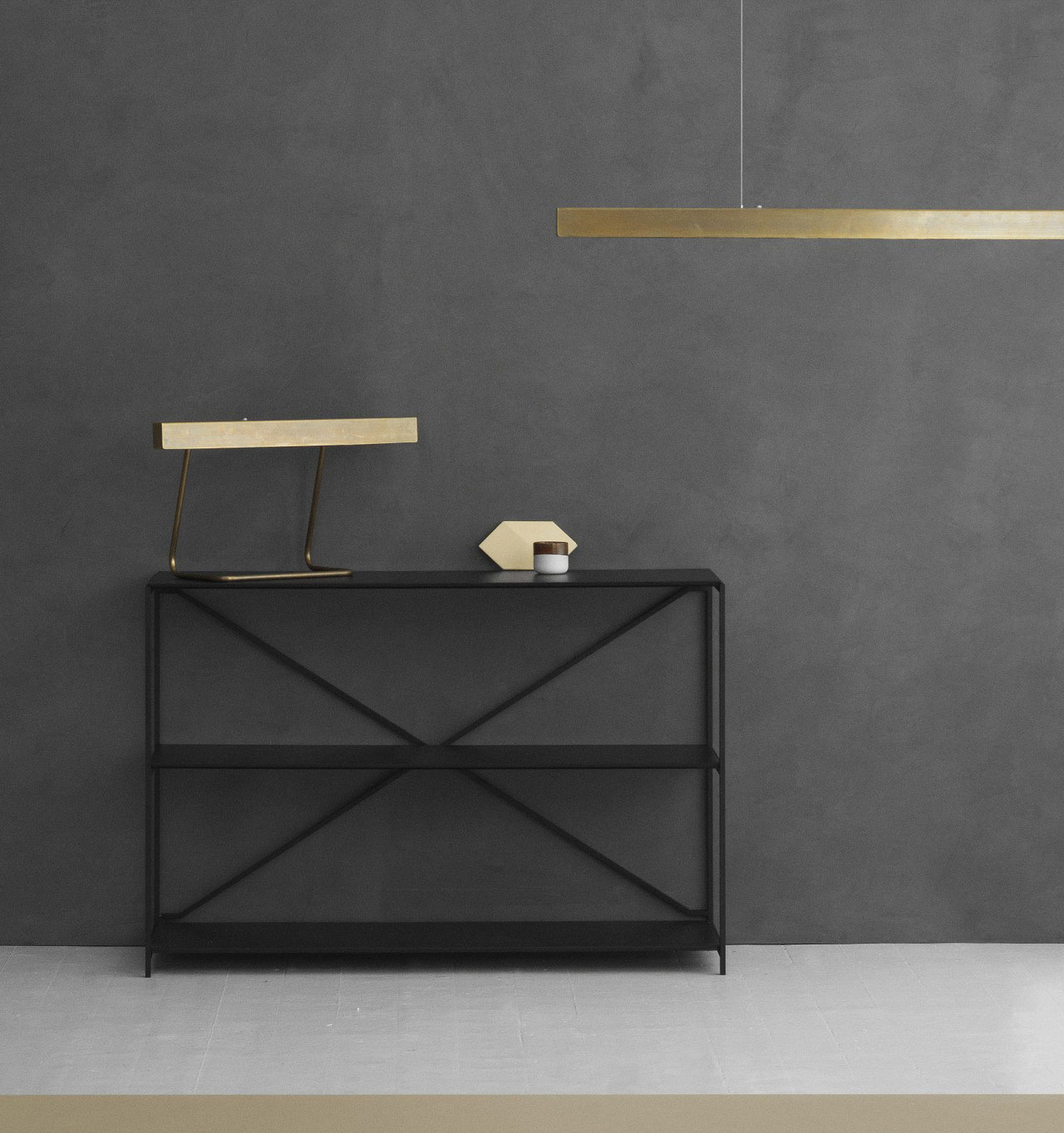 The slim modern copper lighting by Anour (Arash Nourinejad).