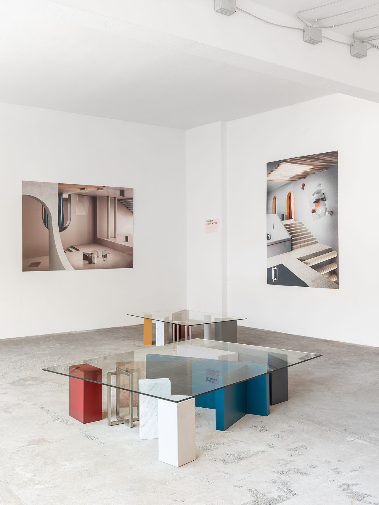 "The ""Non-Objective tables"" is a series of tables inspired by the suprematist paintings of the early 20th century, designed by Morgane Roux of  Atelier Avéus*. 3D images made in collaboration with Massimo Colonna. . Installation view at ALCOVA by DSL Studio