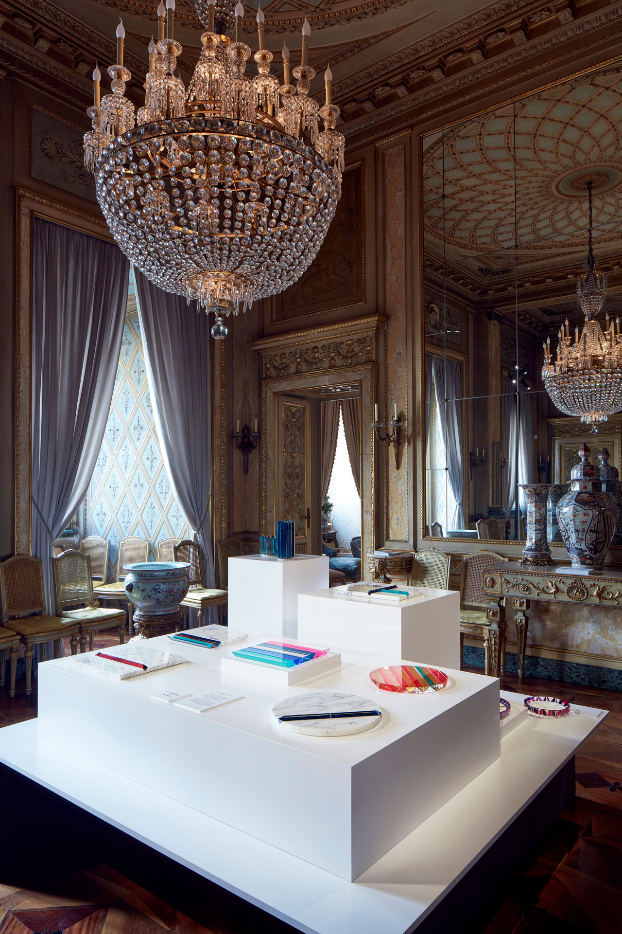 Installation view of the new collection of home accesories by Atelier Swarovski at the Palazzo Crespi.Photo © Mark Cocksedge.