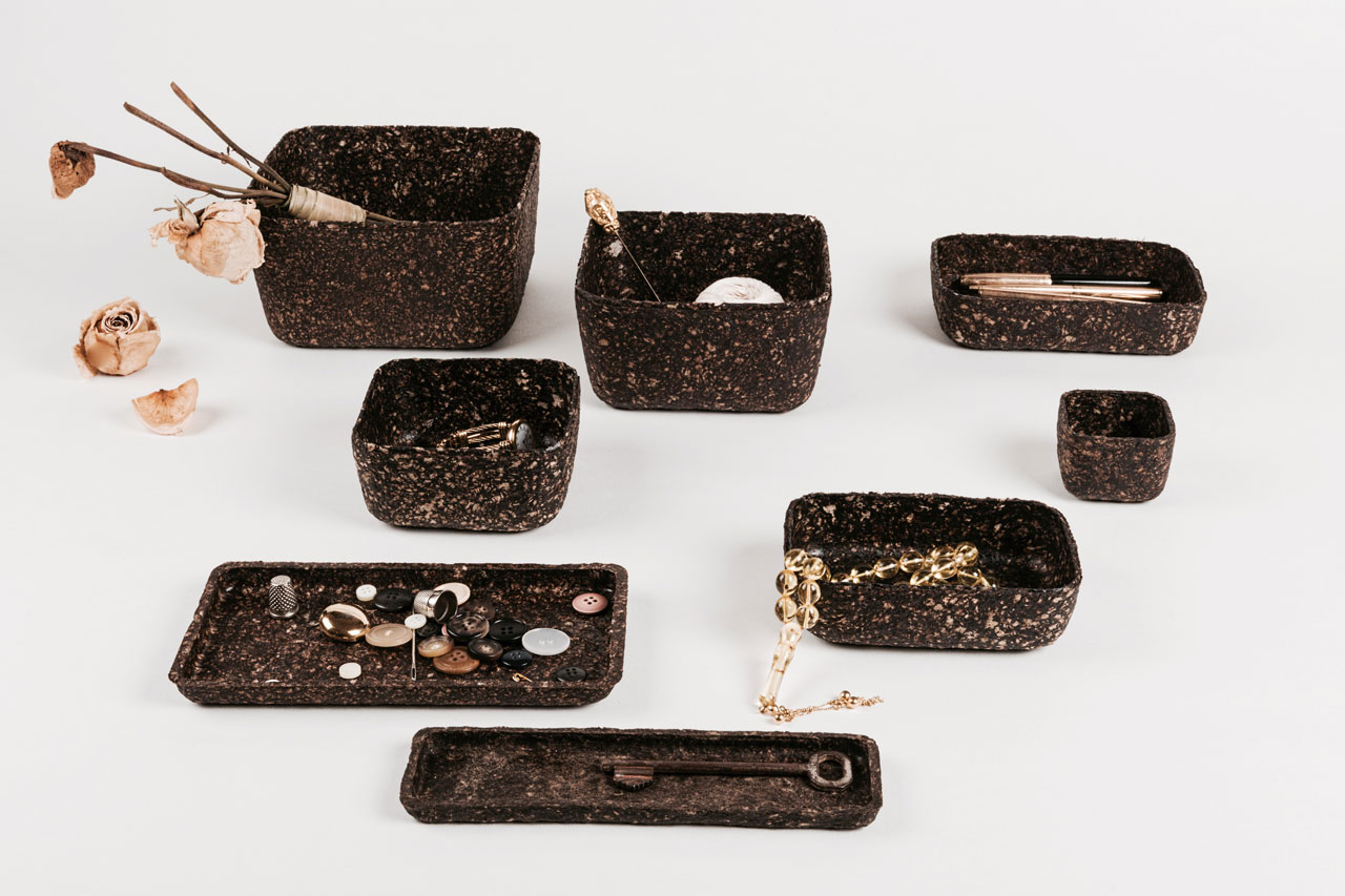 Morning Ritual by Lebanese product designer and photographer Paola Sakr. A series of biodegradable containers made of coffee grounds and newspaper waste. Beirut Design Week at Downtown Design Dubai 2016.