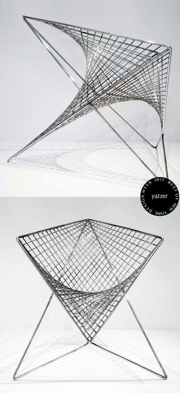 Parabola Chair / Chrome-plated Steel designed by Carlo Aiello.