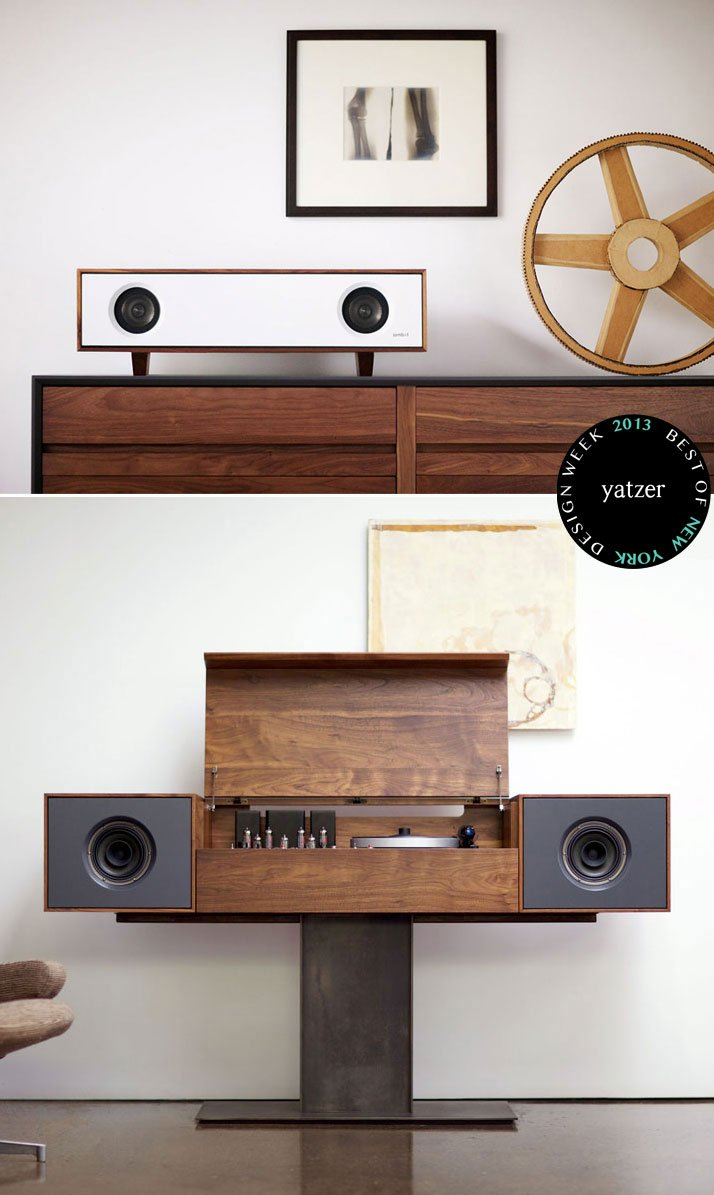 Tabletop Hi-fi speaker and Modern Record Console by Symbol Audio.