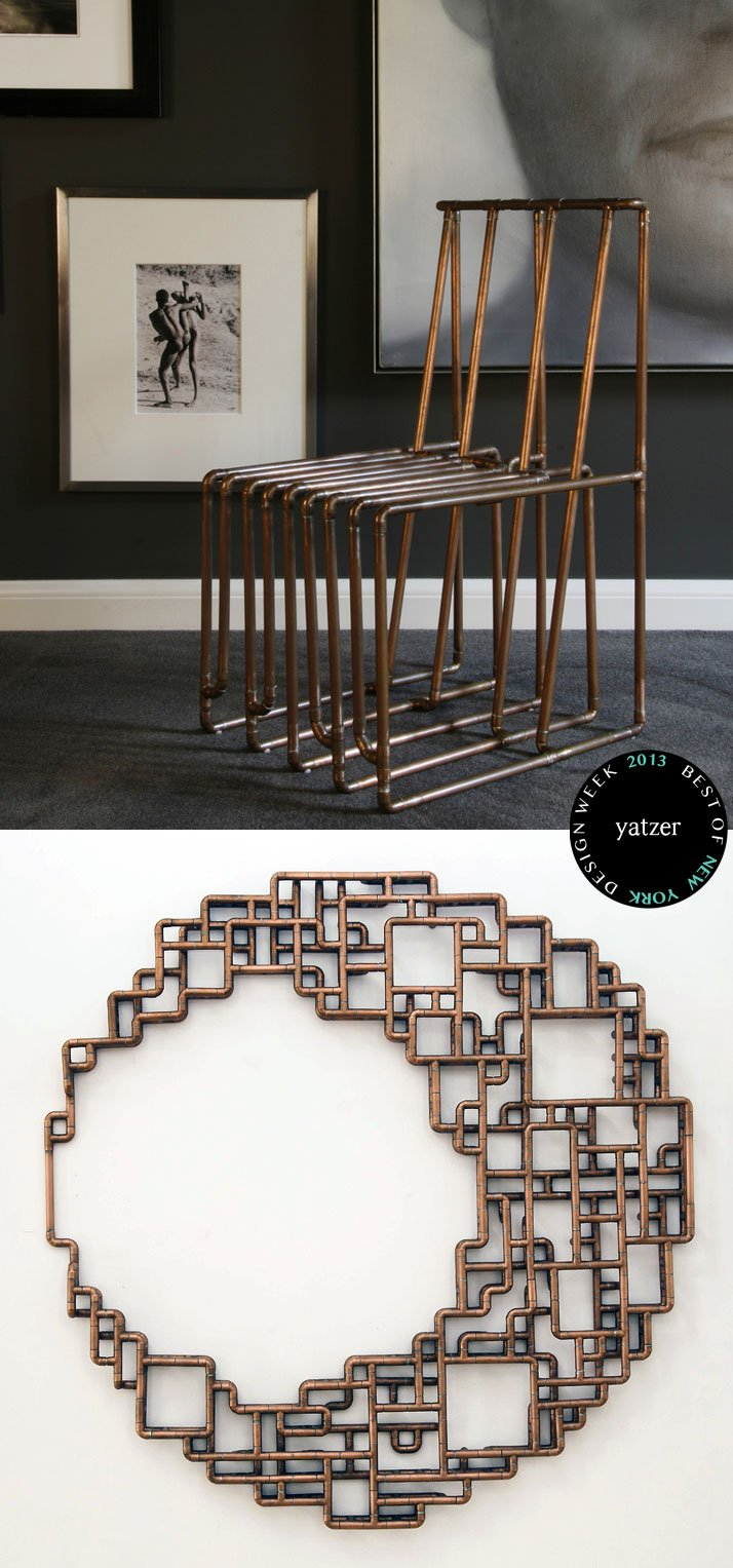 Wall-Mounted Sculpture and furniture pieces made of copper tubes by TJ Volonis.