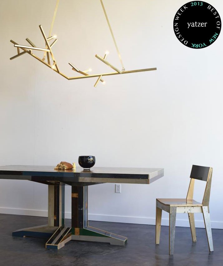 Scrapwood dining table and chair by Piet Hein Eek and Linden Chandelier by Charles de Lisle at The Future Perfect. (Photo inside the new Future Perfect store in San Francisco, © The Future Perfect).