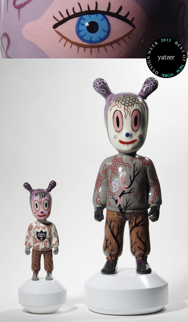 Two new GUESTS created by the outstanding American Artist Gary Baseman were launched during NYDW 2013. This ongoing project of the Spanish artistic porcelain brand Lladró invites cutting-edge international artists to create a distinctive personality for an original porcelain character conceived by Jaime Hayon for Lladró Atelier. Photo © Lladró,Laura Ganem.