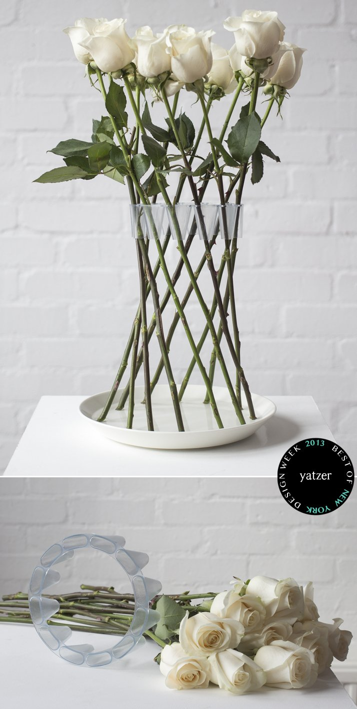CROWN vase by Lambert Rainville arranges rigid stem flowers in a free-standing and decorative structure.