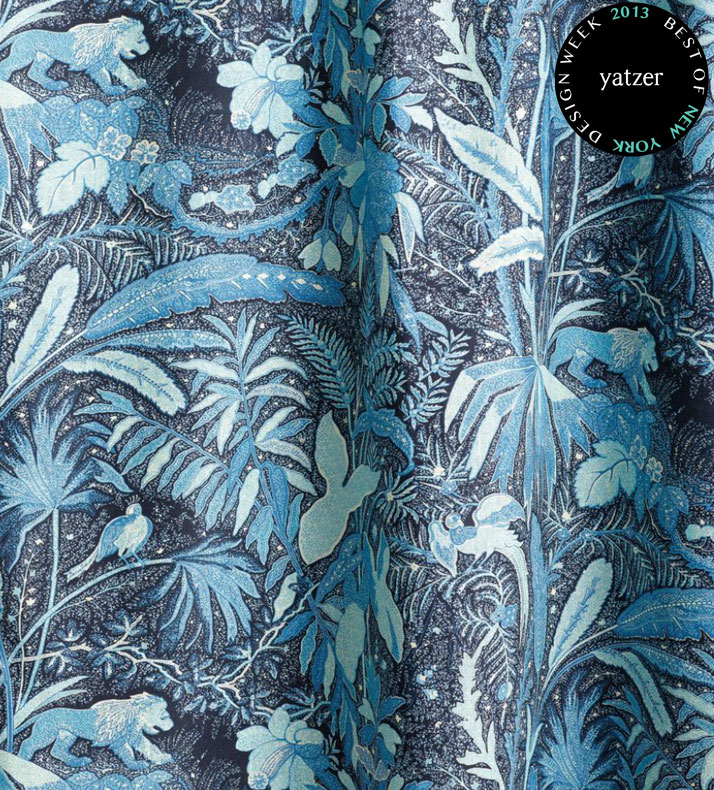 The LIONESS linen fabric from Beacon Hill's Midnight Garden print collection.