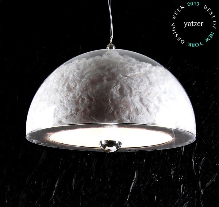Fog Dome by Abyu Lighting. Double acrylic dome filled with white feathers.