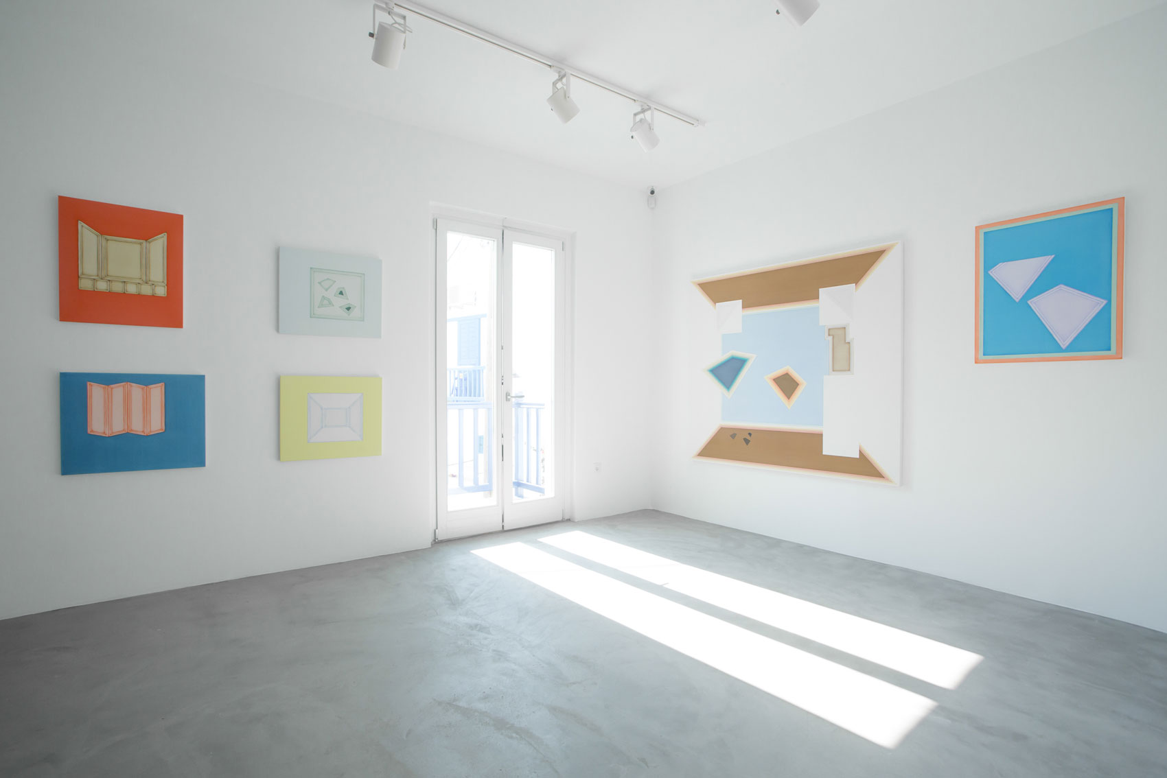 Installation view of resident artist Selma Parlour's solo exhibition Paradoxes of the Flattened-out Cavity at Dio Horia, Mykonos. Photo: Pinelopi Gerasimou.