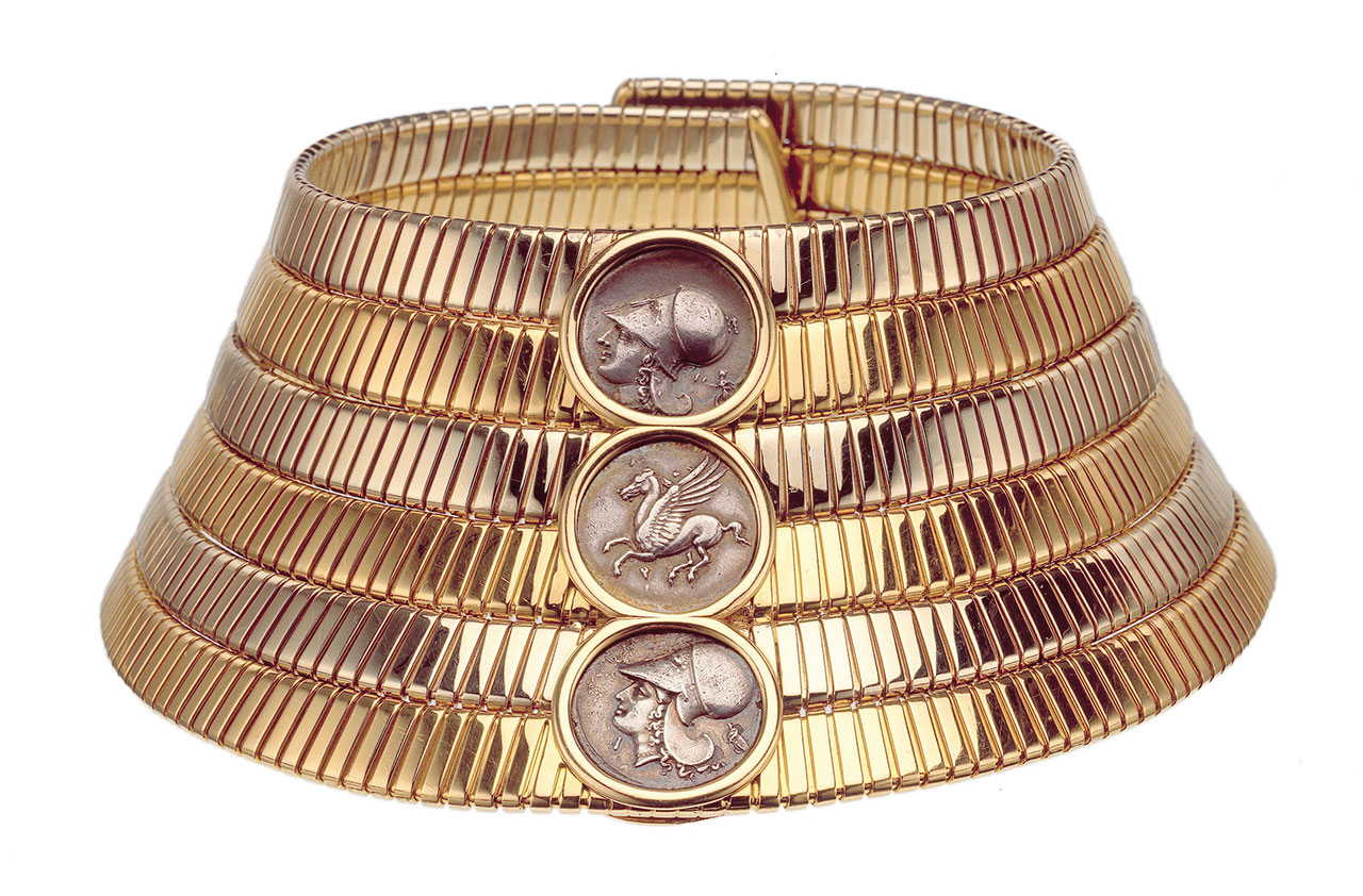 Tubogas choker in two-colour gold with silver GREEK coins, 1974.Photo © Bulgari Archives.