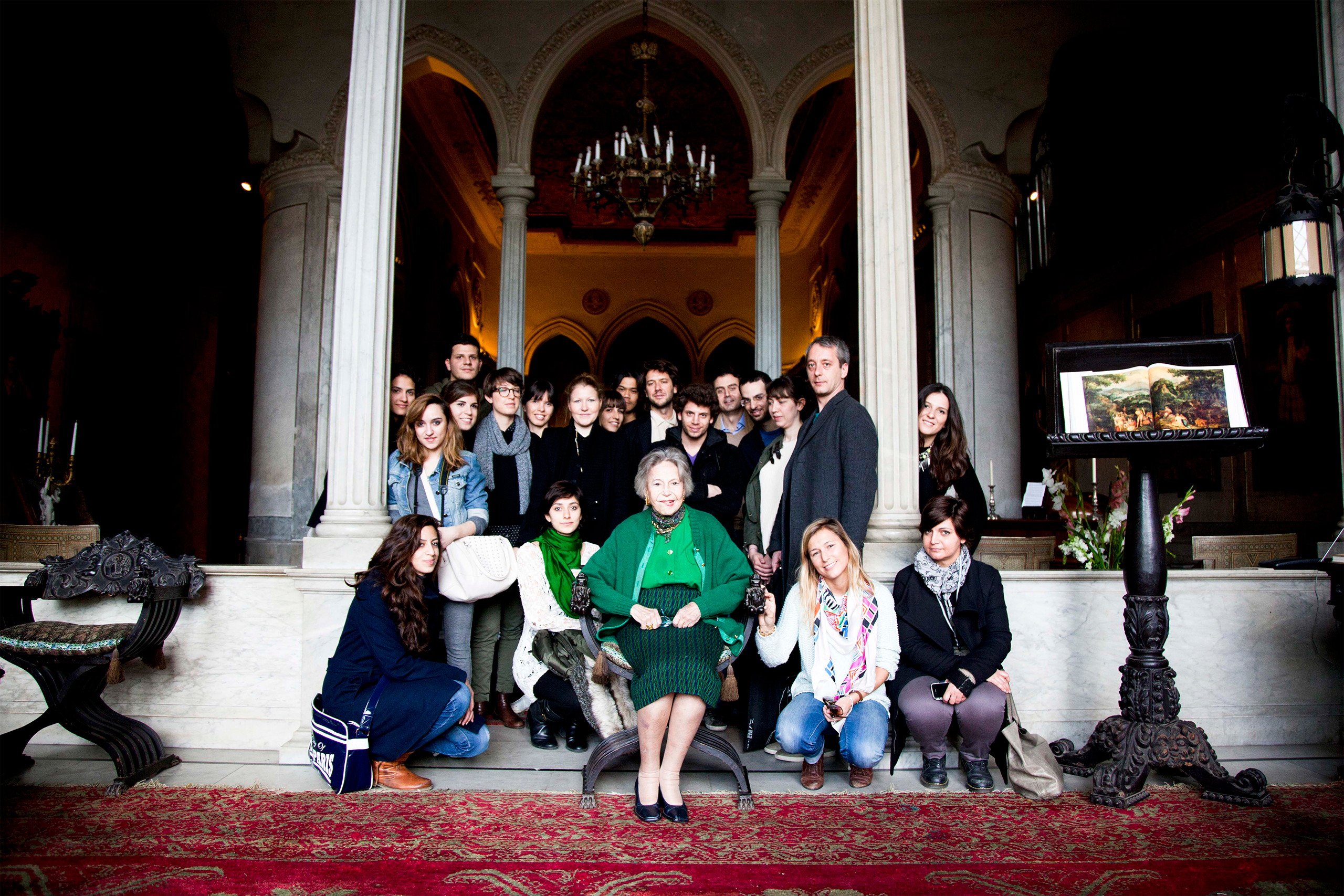 The Fabrica team meets Lady Cochrane Sursock at her house. photo © Fabrica.