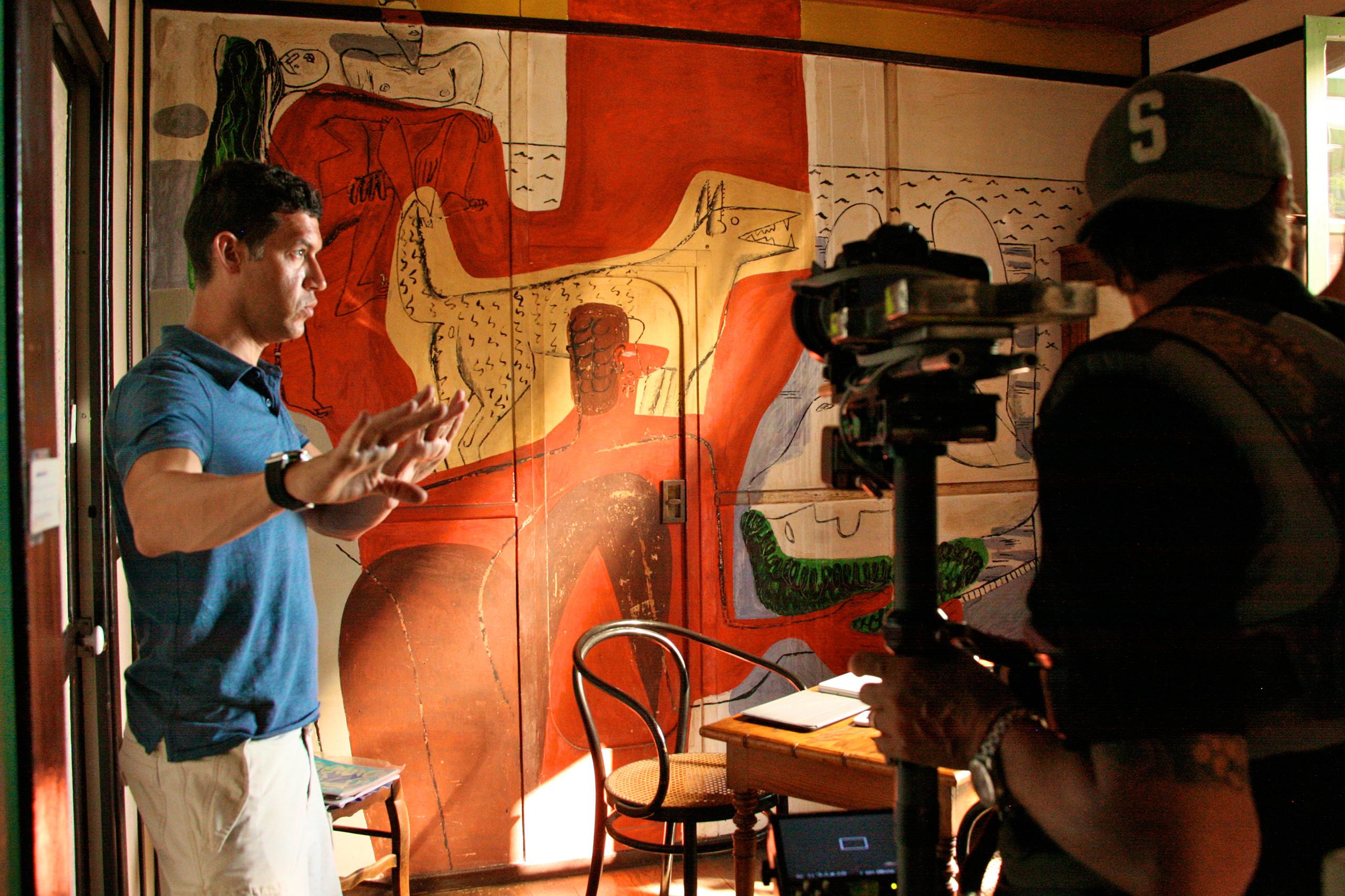 Gray Matters' Marco Orsini filming at Eileen Gray Villa E1027, © Celina Lafuente de Lavotha.