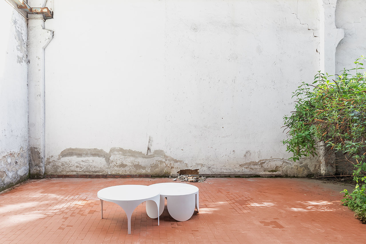 Two Tables by BoardGrove Architects (Holly Board, Peter Grove). Installation view at Alcova by DSL Studio| Delfino Sisto Legnani and Marco Cappelletti.