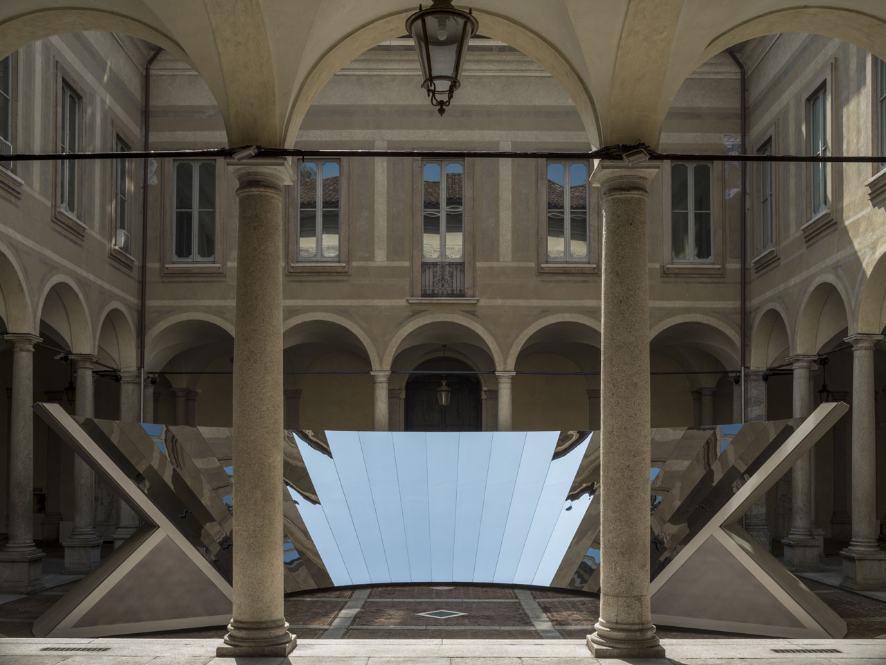 OPEN SKY installation by Phillip K. Smith III for COS at Palazzo Isimbardi.Photo by Lance Gerber.