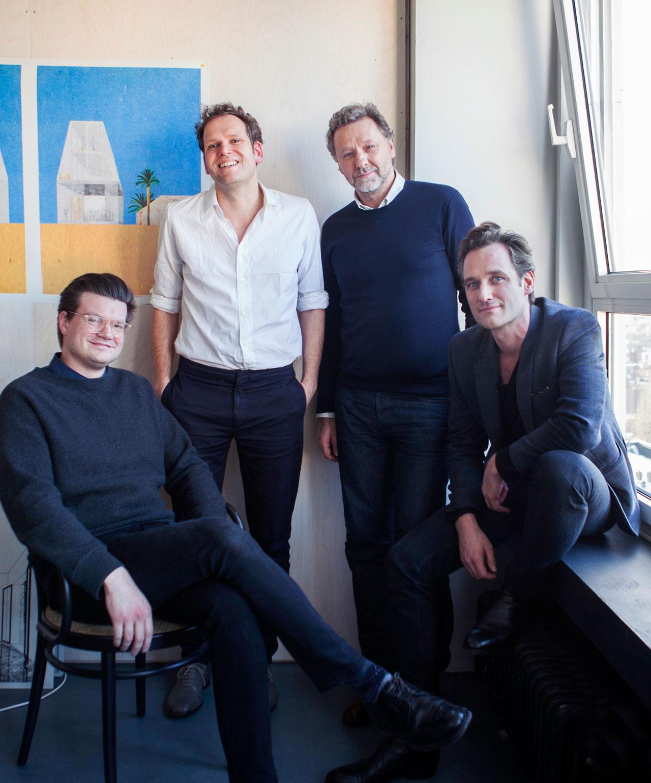 The curatorial team of Biennale Interieur 2016: OFFICE Kersten Geers David Van Severenn, Joris Kritis and Richard Venlet. Photo © Sam Gilbert.